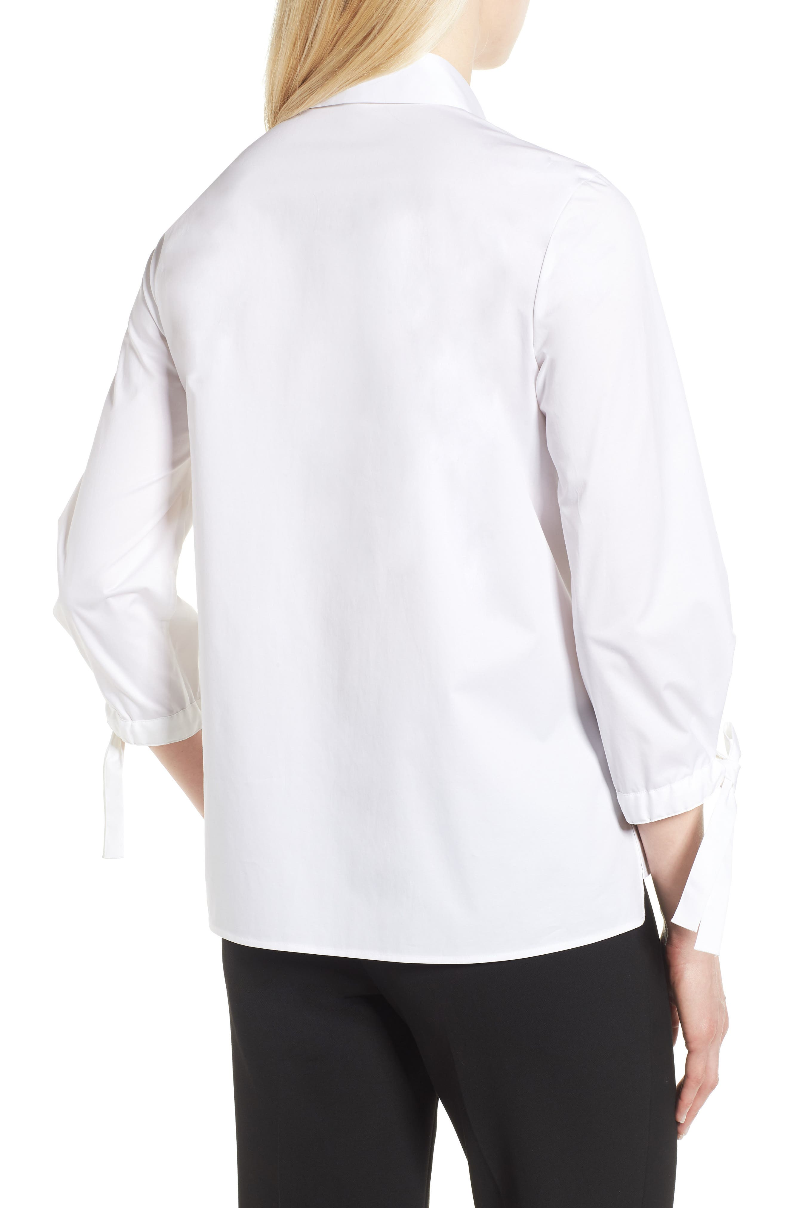 Biulepa Stretch Cotton Tie Sleeve Top,                             Alternate thumbnail 2, color,                             White