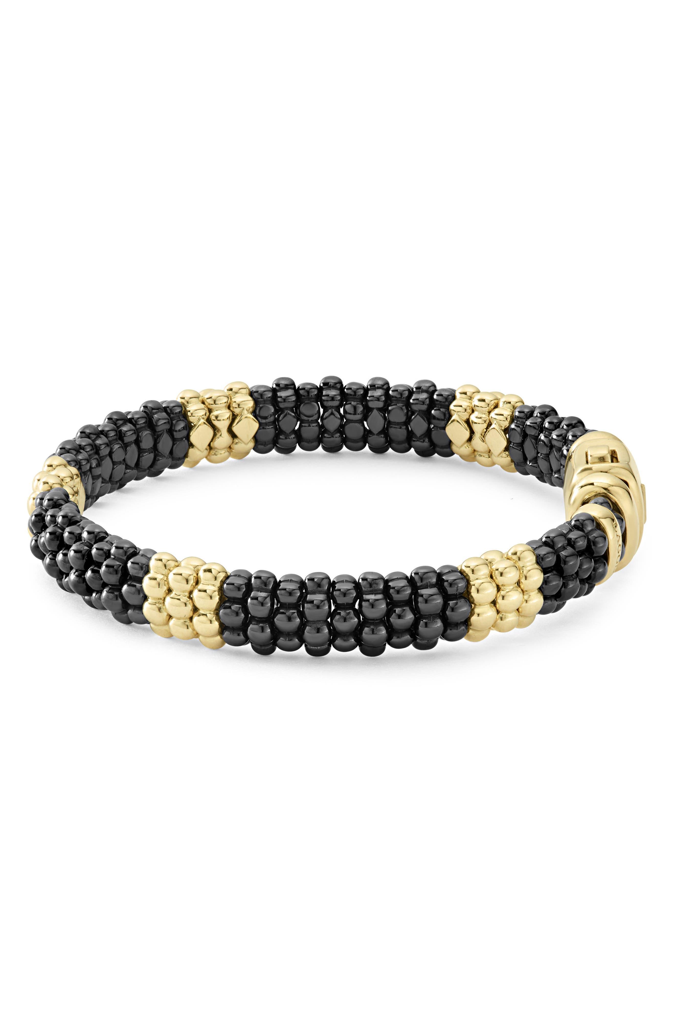 Gold & Black Caviar Station Bracelet,                             Alternate thumbnail 5, color,                             Gold