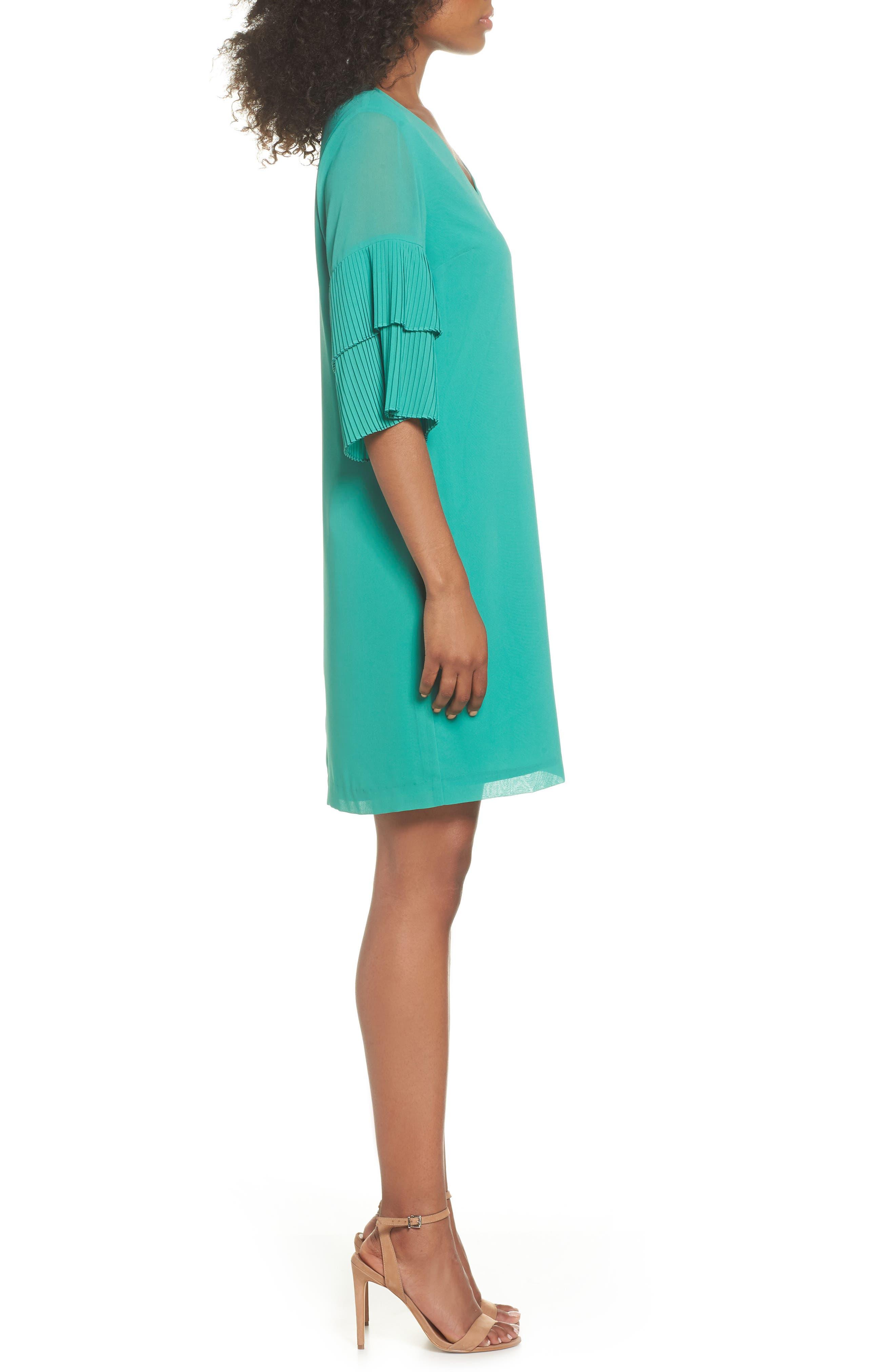 Pleat Sleeve Shift Dress,                             Alternate thumbnail 3, color,                             Green