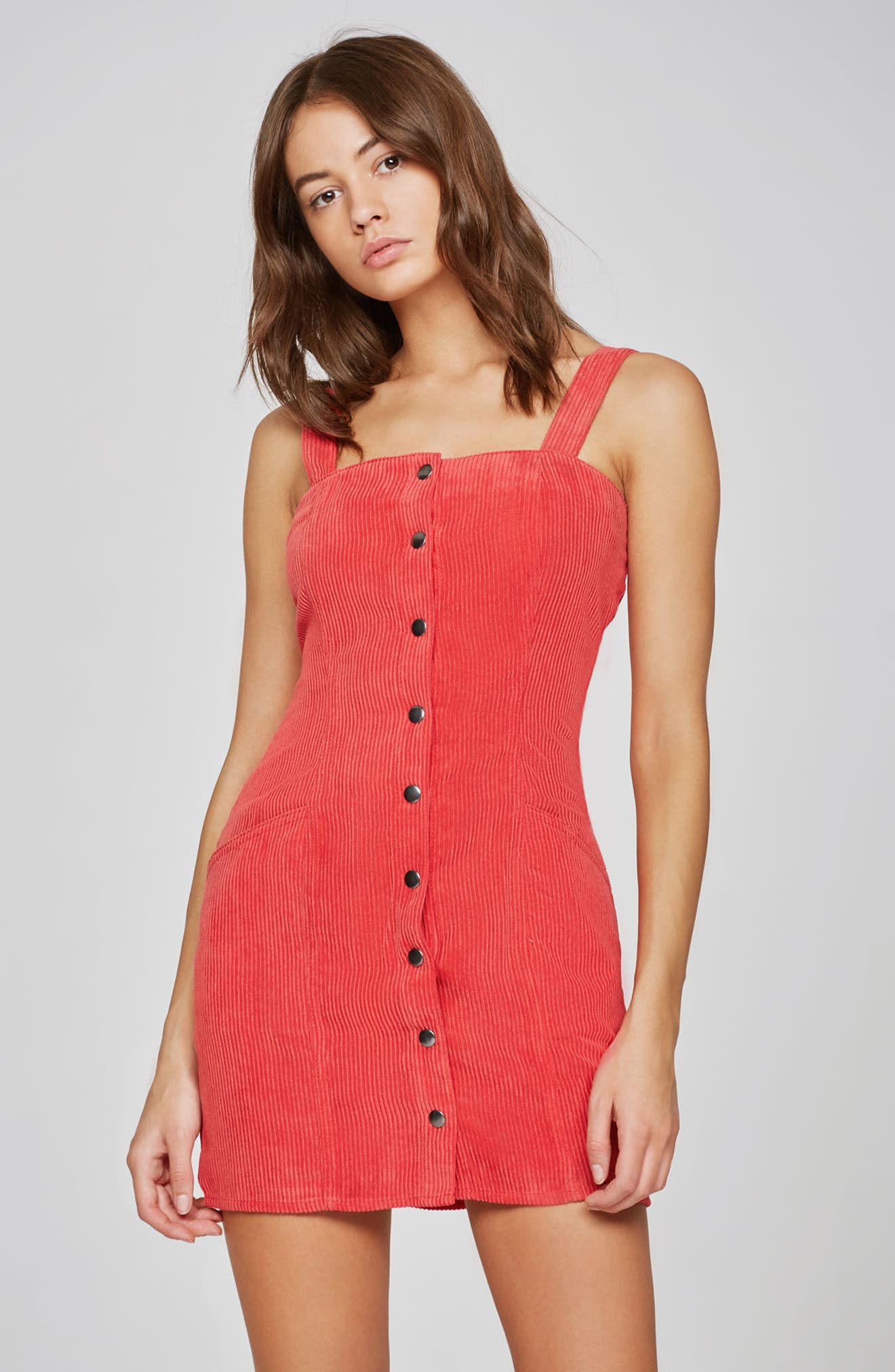 Button Front Corduroy Dress,                             Alternate thumbnail 7, color,                             Red