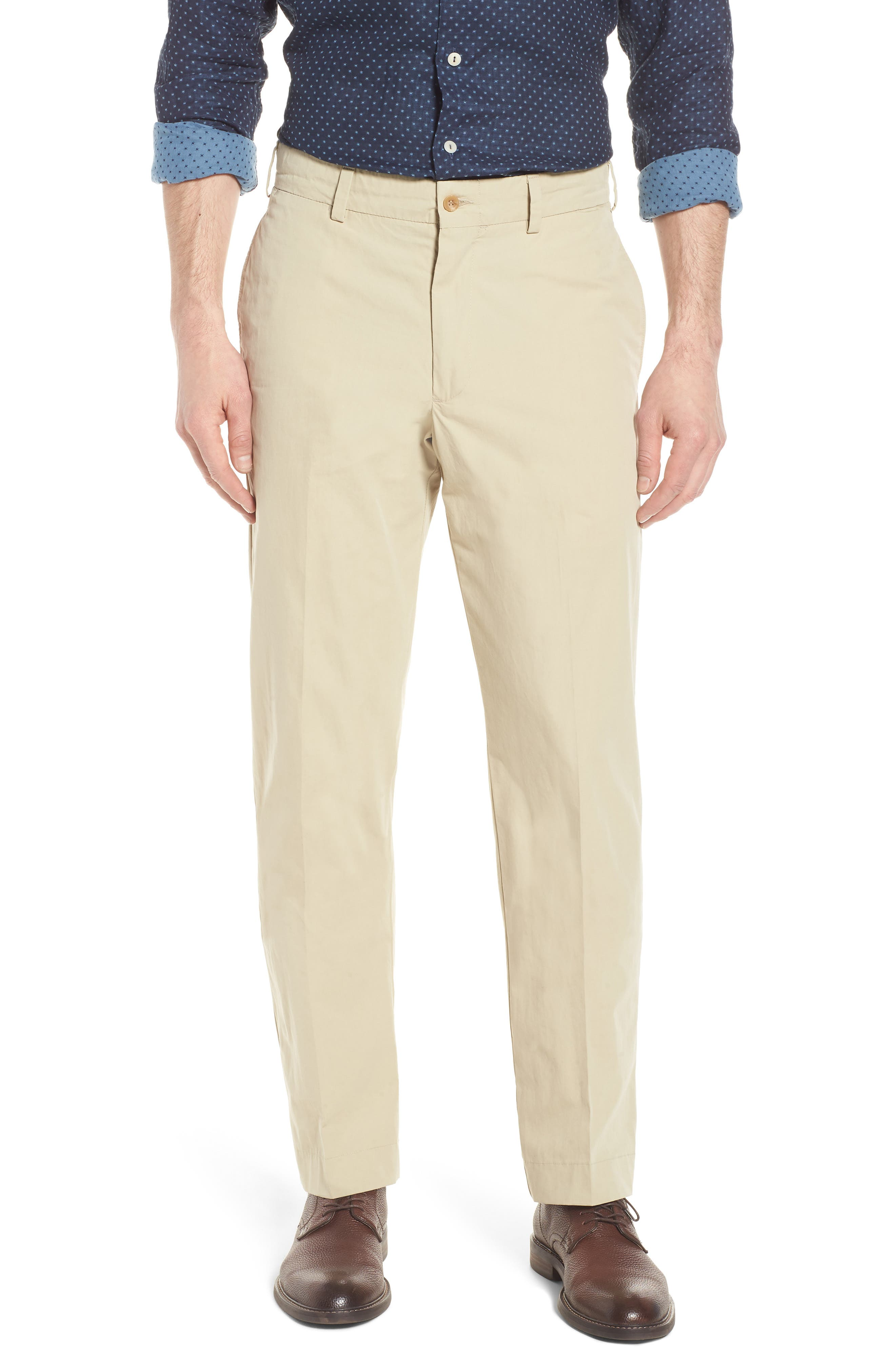 M2 Classic Fit Flat Front Tropical Cotton Poplin Pants,                             Main thumbnail 1, color,                             Khaki