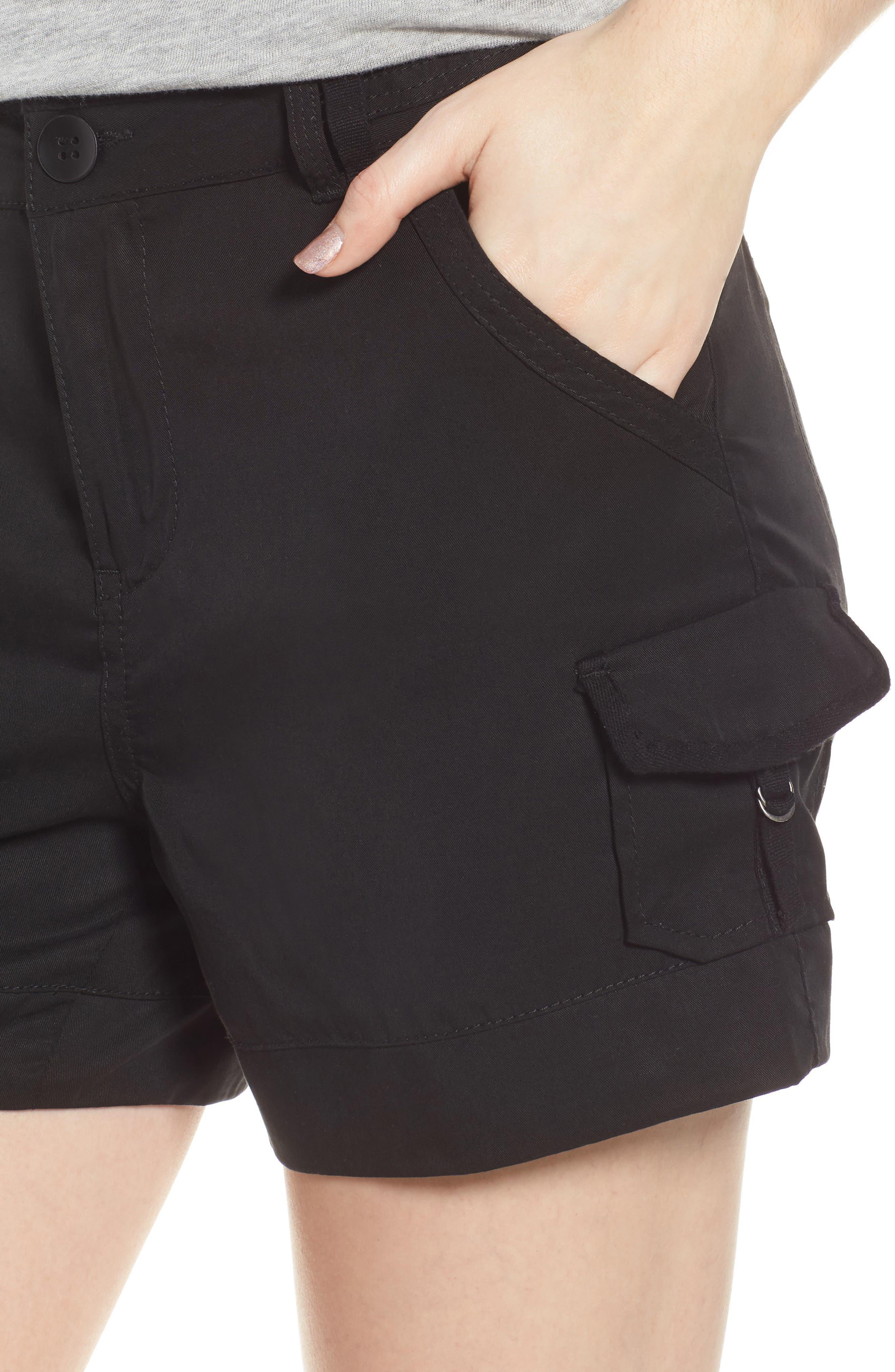 High Rise Tencel Shorts,                             Alternate thumbnail 4, color,                             Black