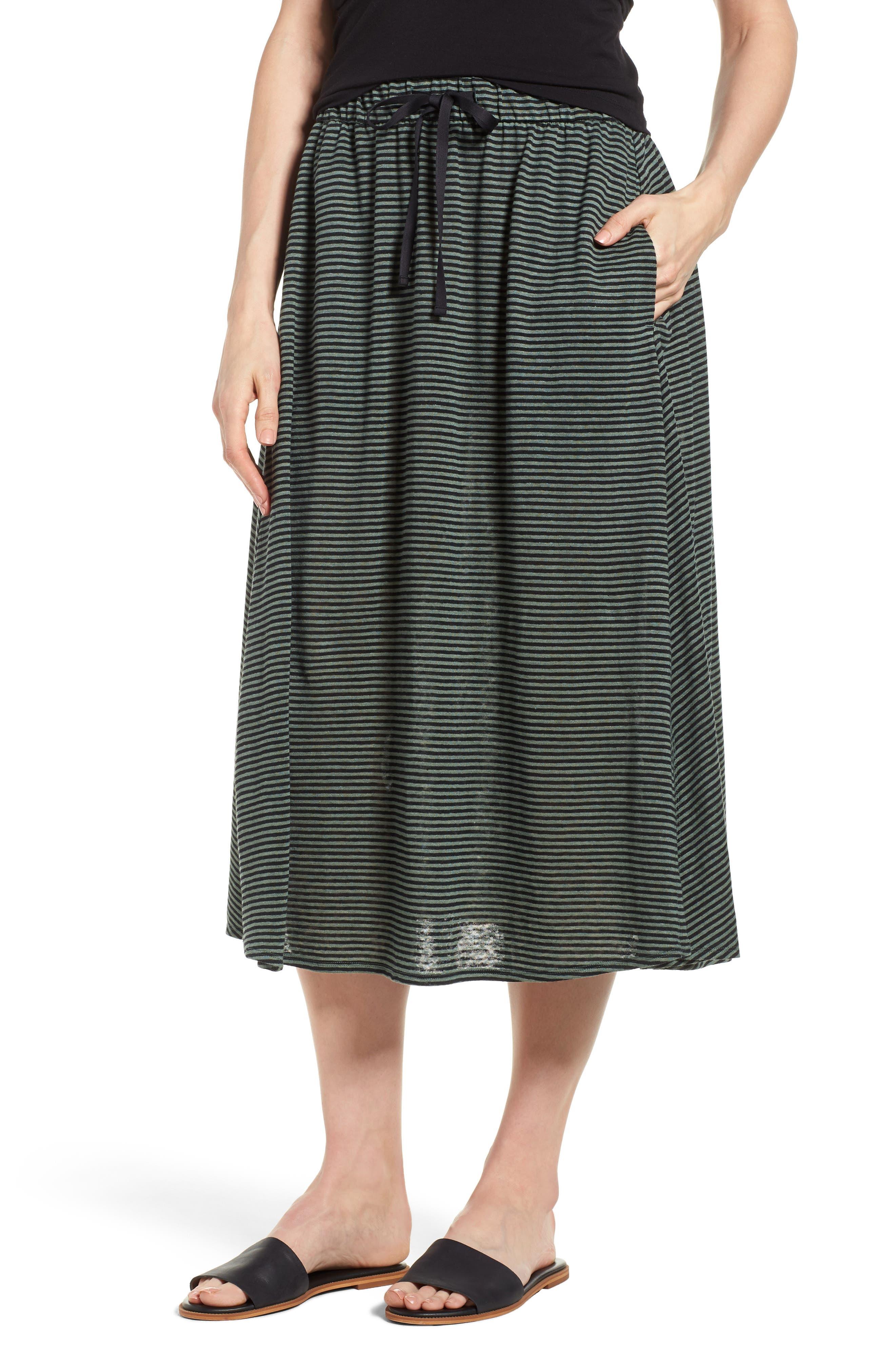 Flared Stripe Organic Linen Skirt,                         Main,                         color, Nori