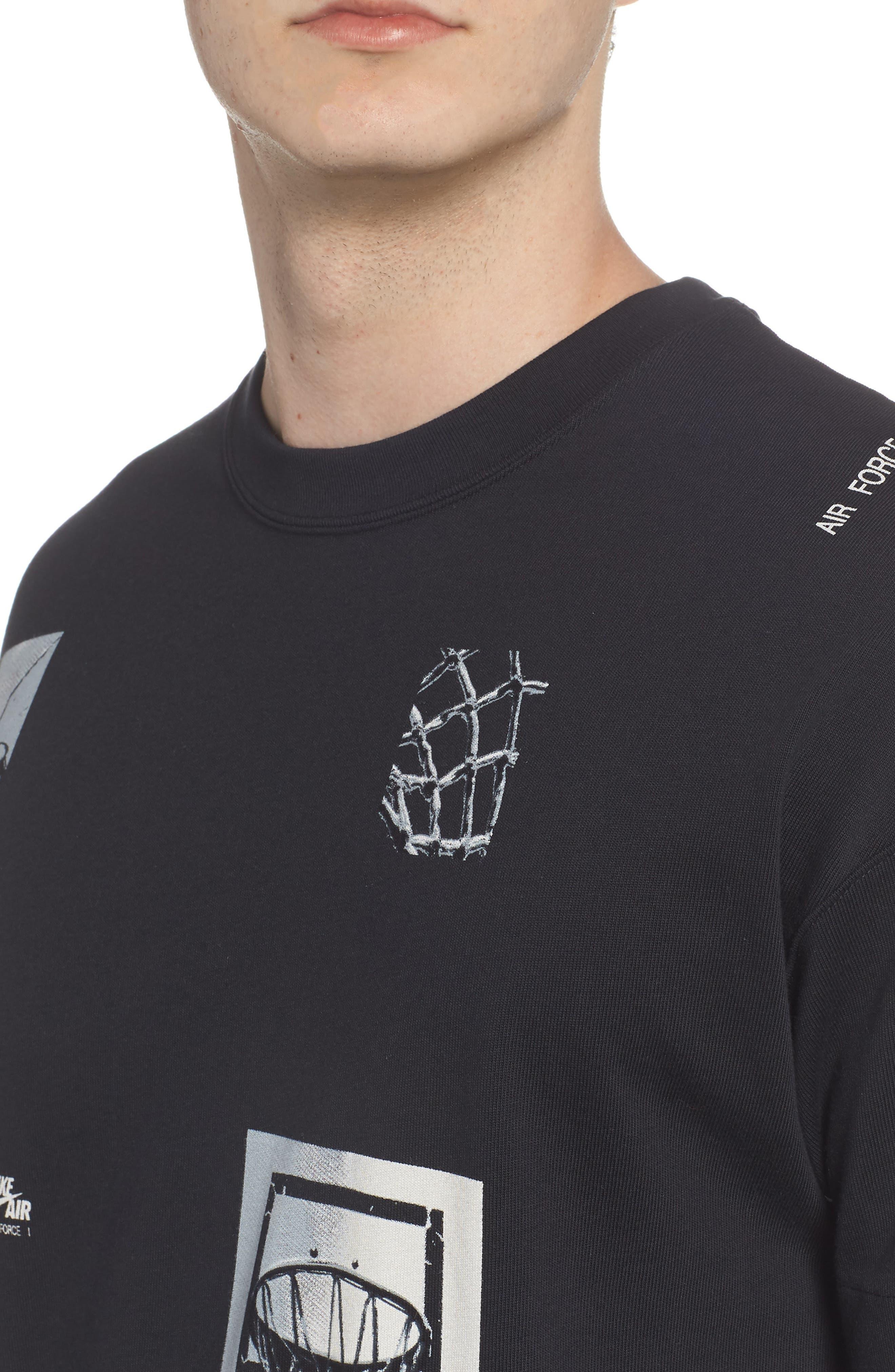 Sportswear AF-1 Oversize T-Shirt,                             Alternate thumbnail 4, color,                             Black/ White