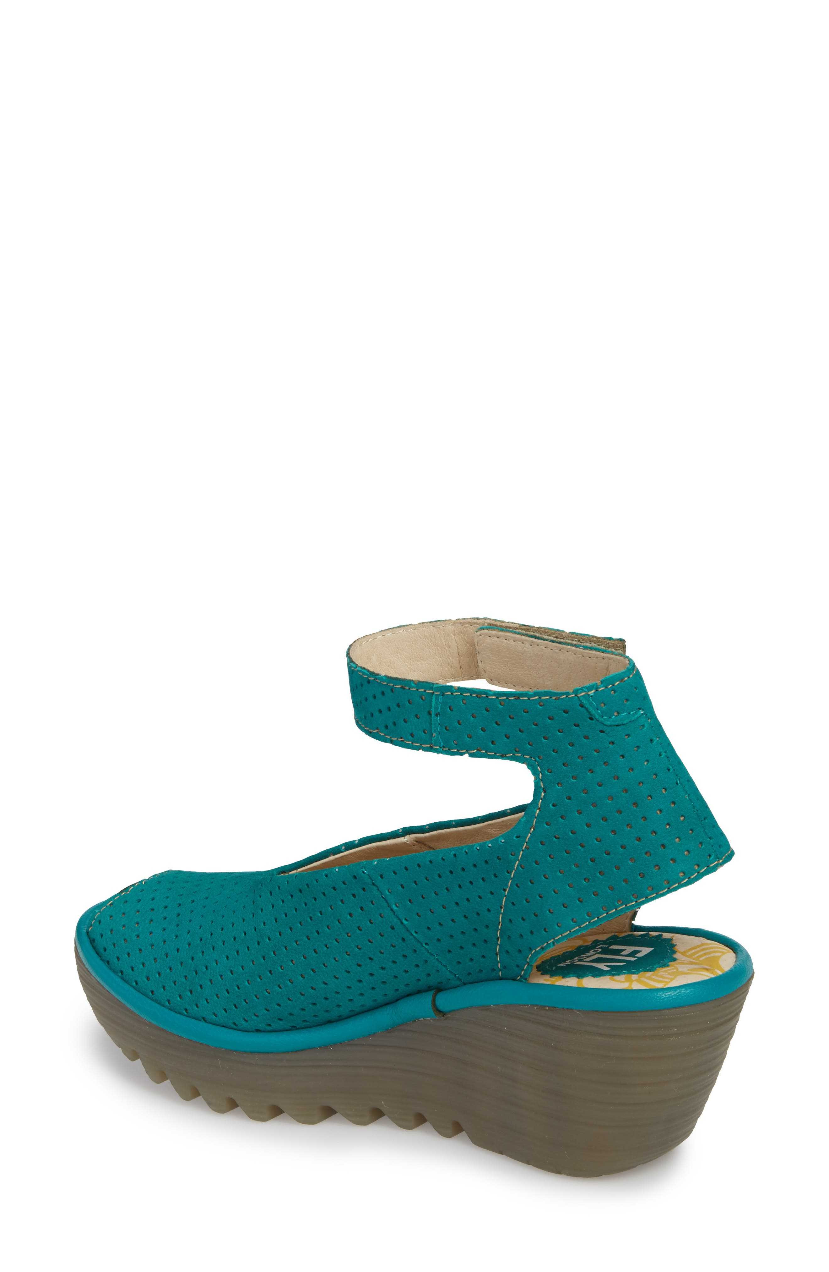 'Yala' Perforated Leather Sandal,                             Alternate thumbnail 2, color,                             Green Leather