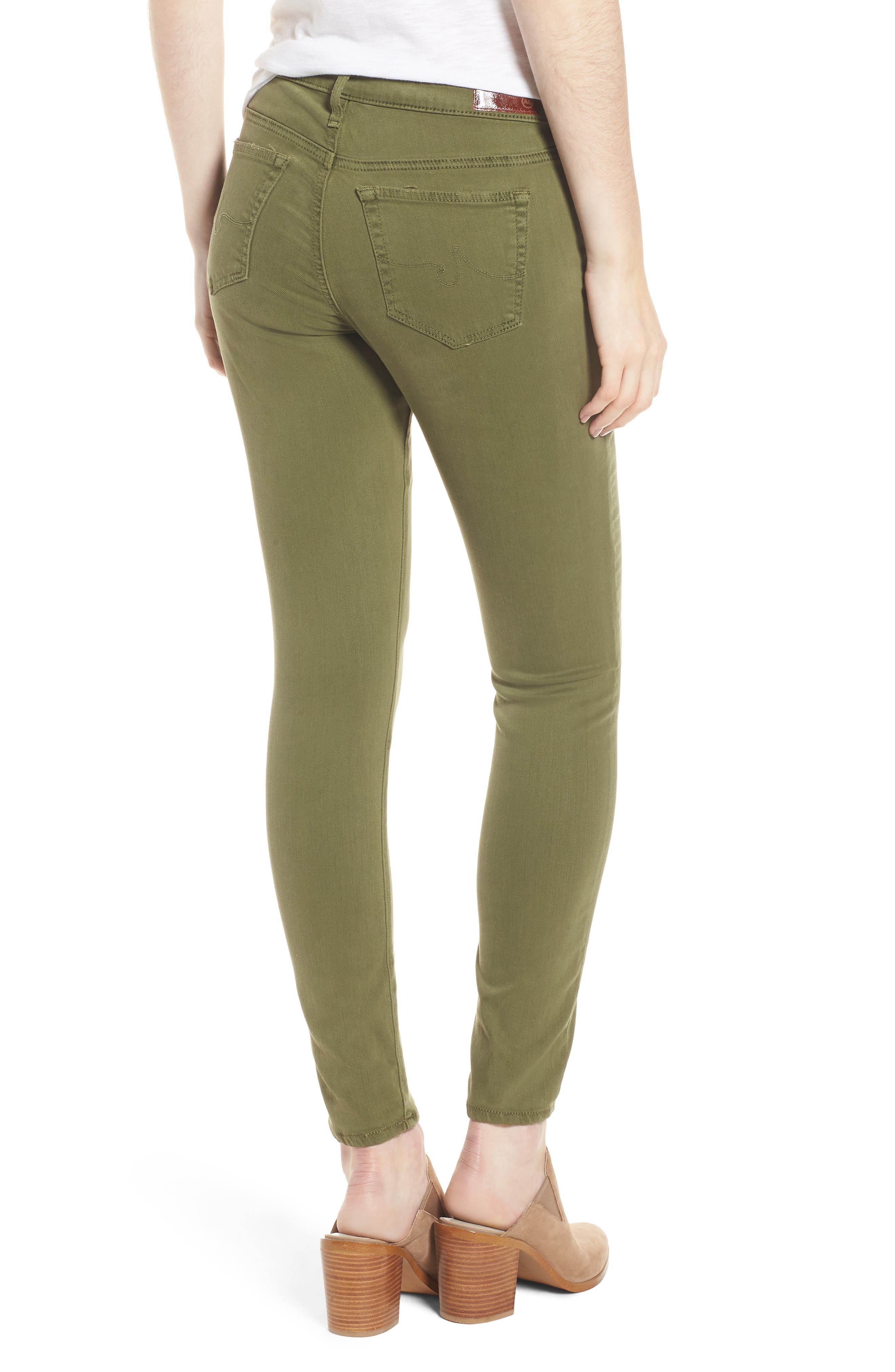 'The Legging' Ankle Jeans,                             Alternate thumbnail 2, color,                             Sulfur Olive Grove