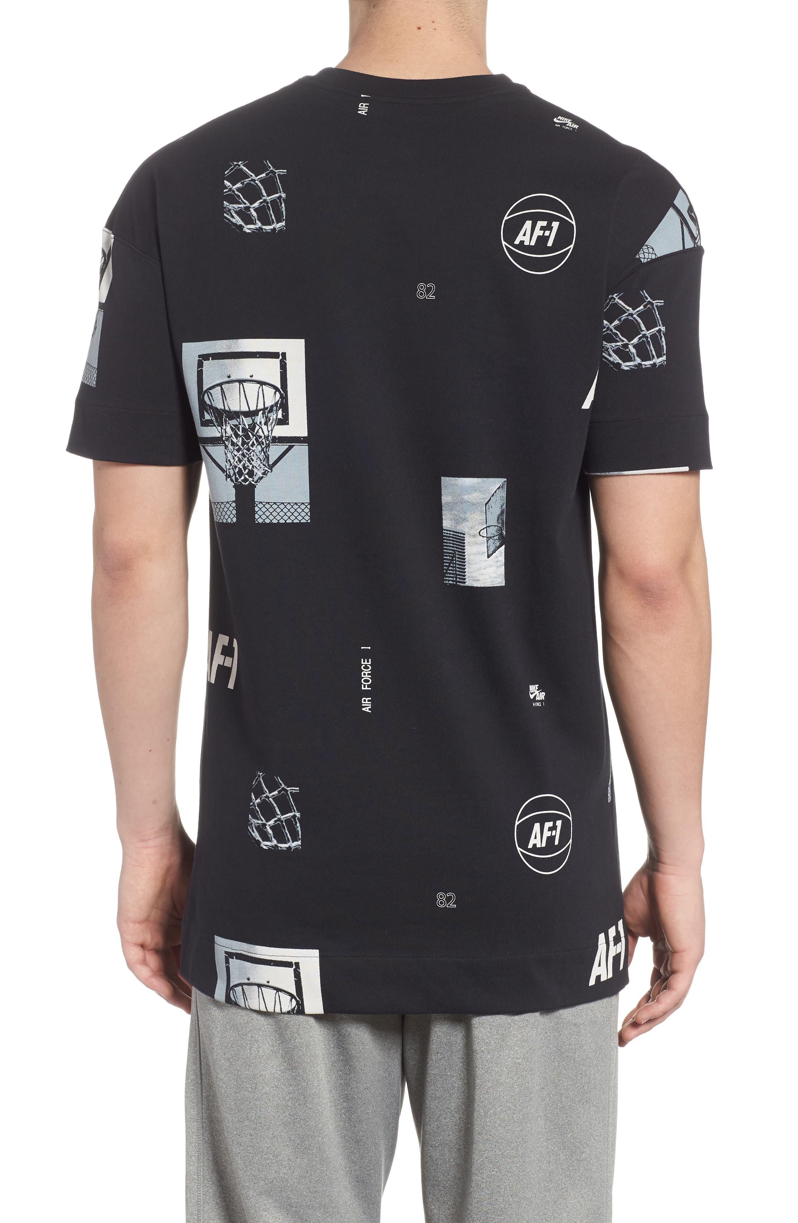 Sportswear AF-1 Oversize T-Shirt,                             Alternate thumbnail 2, color,                             Black/ White