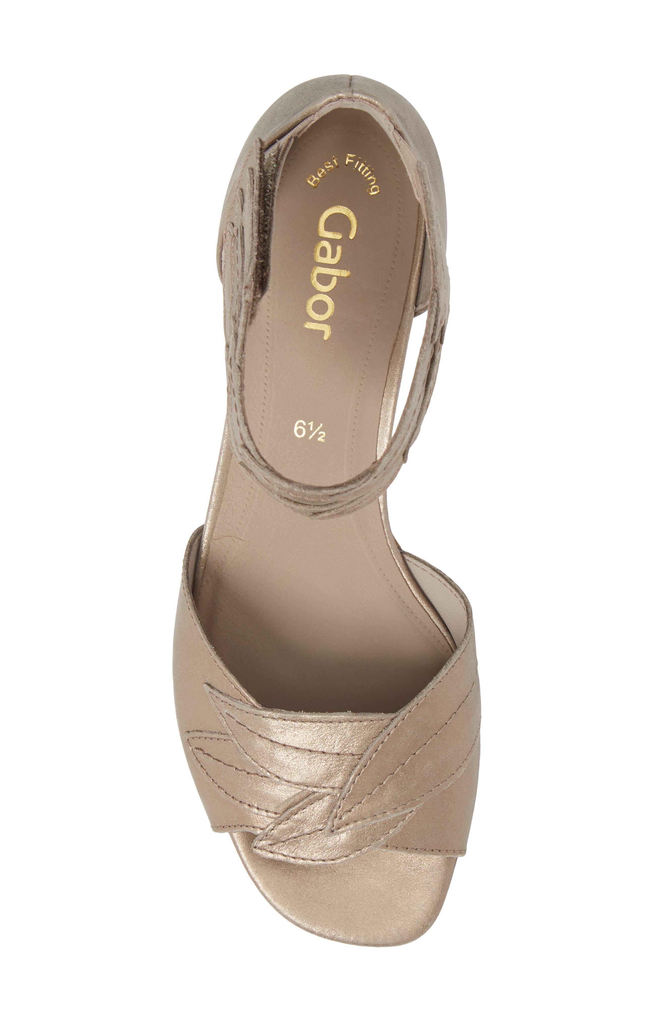 Leaf Ankle Strap Sandal,                             Alternate thumbnail 5, color,                             Beige Metallic Leather
