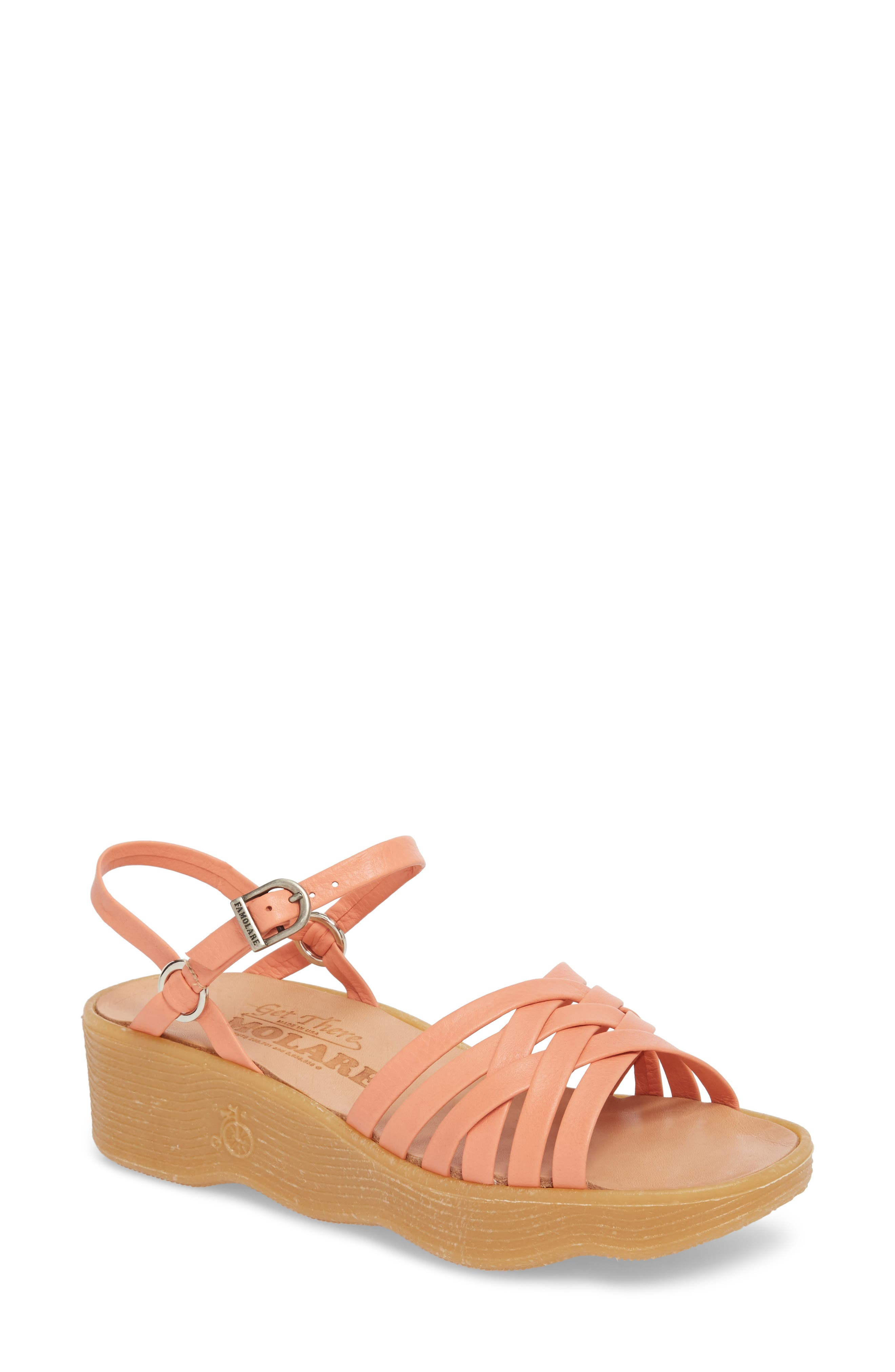 Strappy Camper Sandal,                         Main,                         color, Salmon Leather