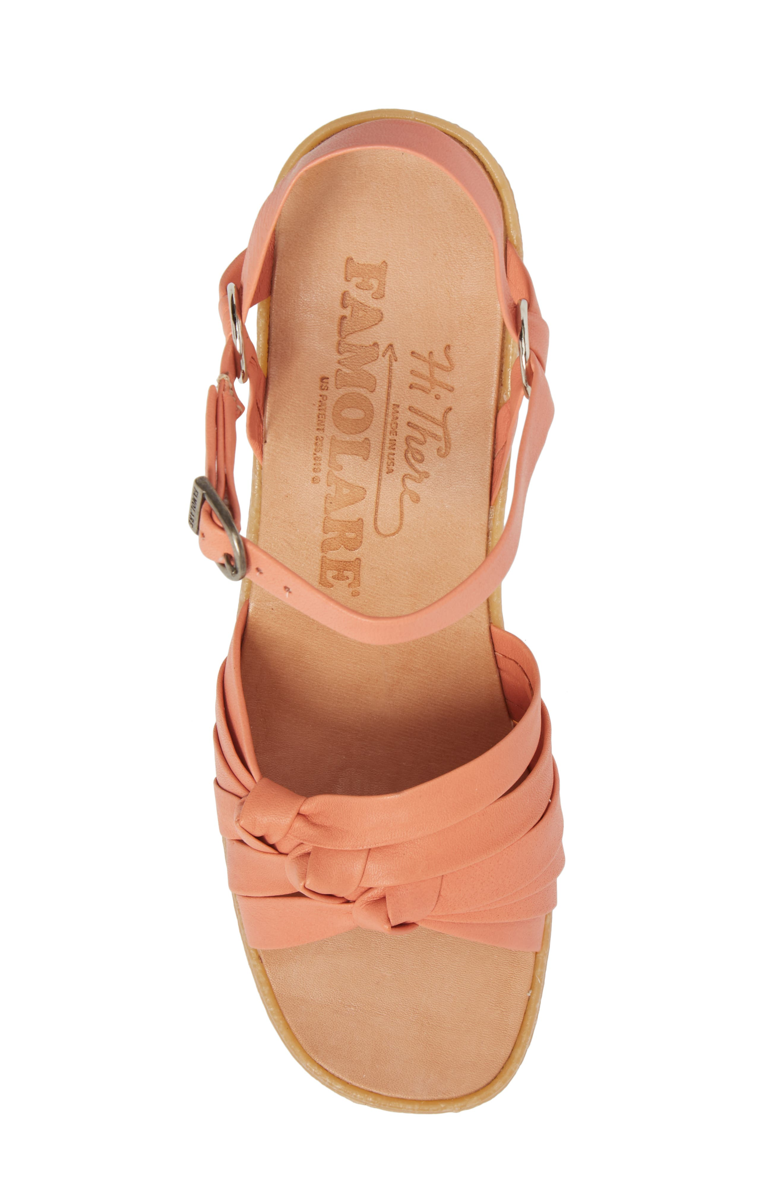 Knot So Fast Wedge Sandal,                             Alternate thumbnail 5, color,                             Salmon Leather