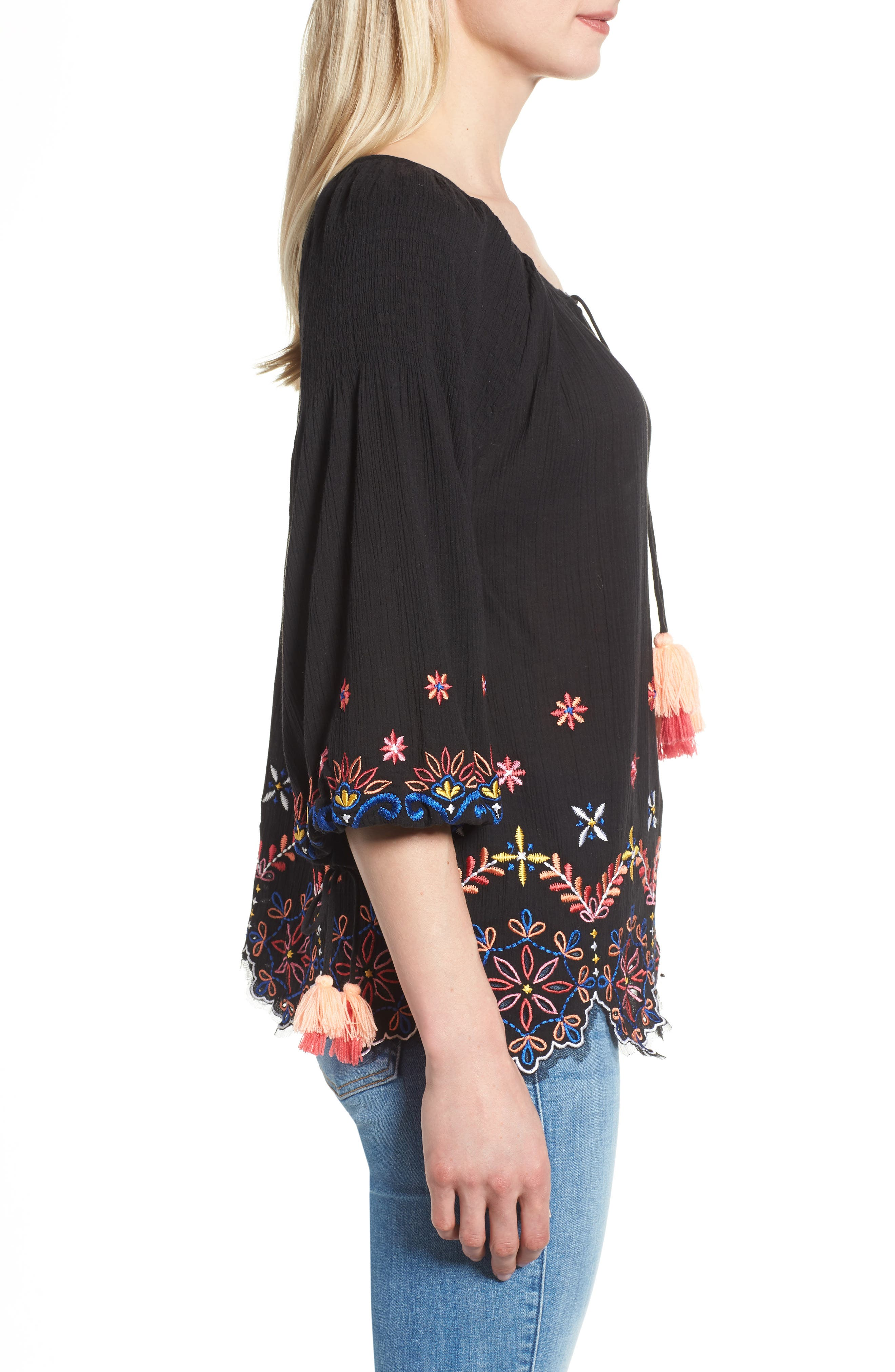 Hand Embroidered Cotton Peasant Blouse,                             Alternate thumbnail 3, color,                             Black