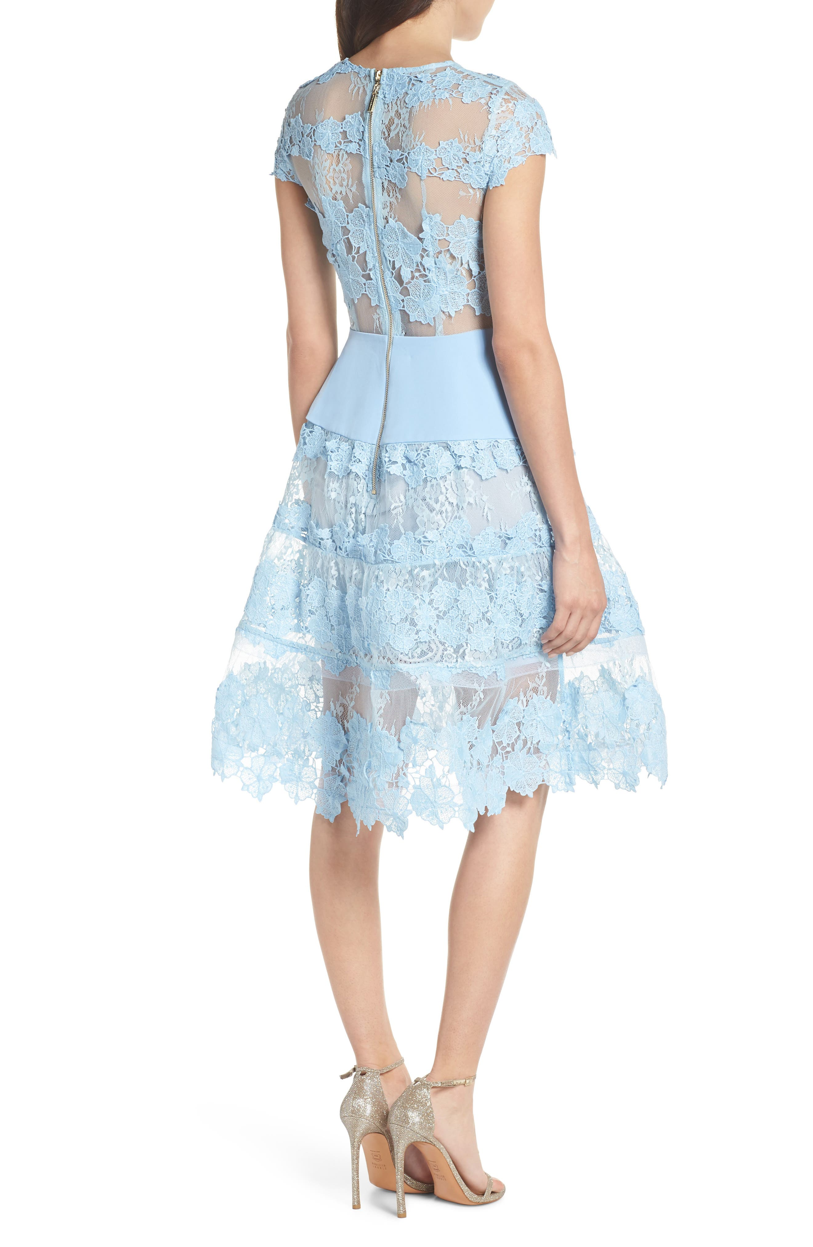 Flamenco Lace Fit & Flare Dress,                             Alternate thumbnail 2, color,                             Blue