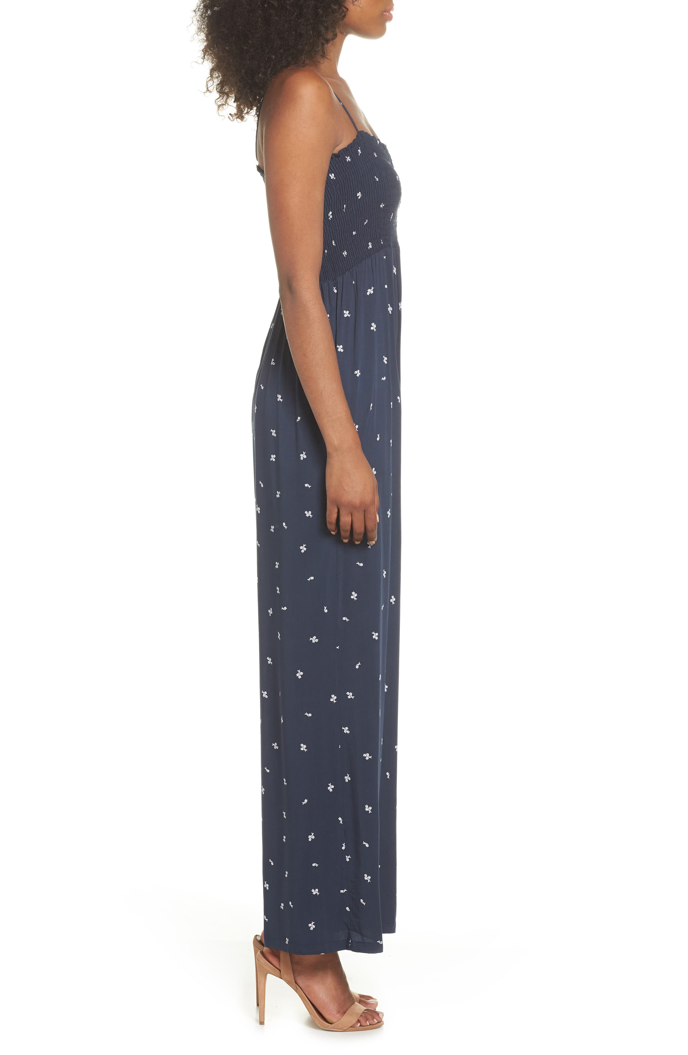 West Floral Jumpsuit,                             Alternate thumbnail 3, color,                             Navy Dainty Ditsy