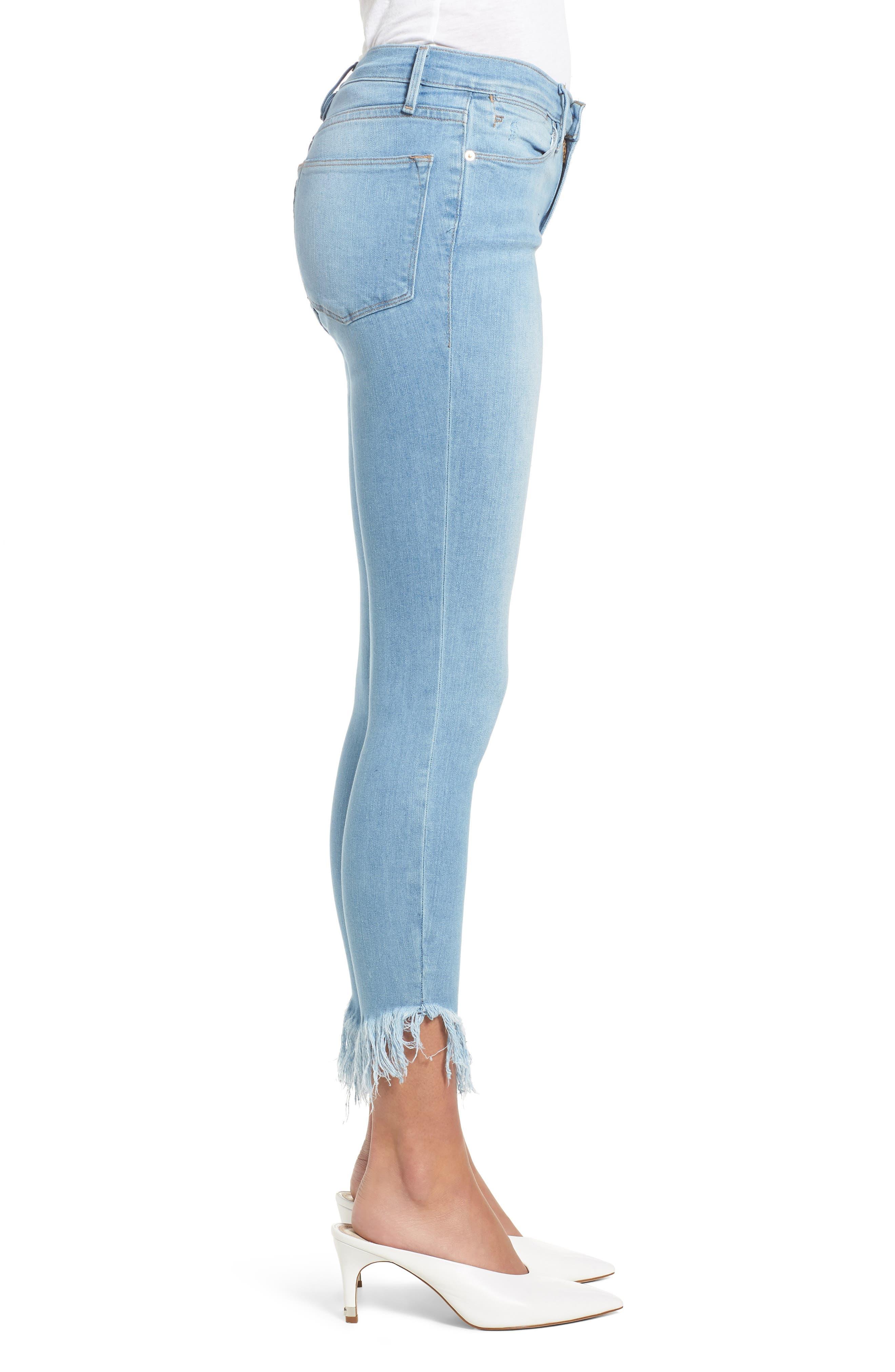 Le High Shredded Hem Skinny Jeans,                             Alternate thumbnail 3, color,                             Eling