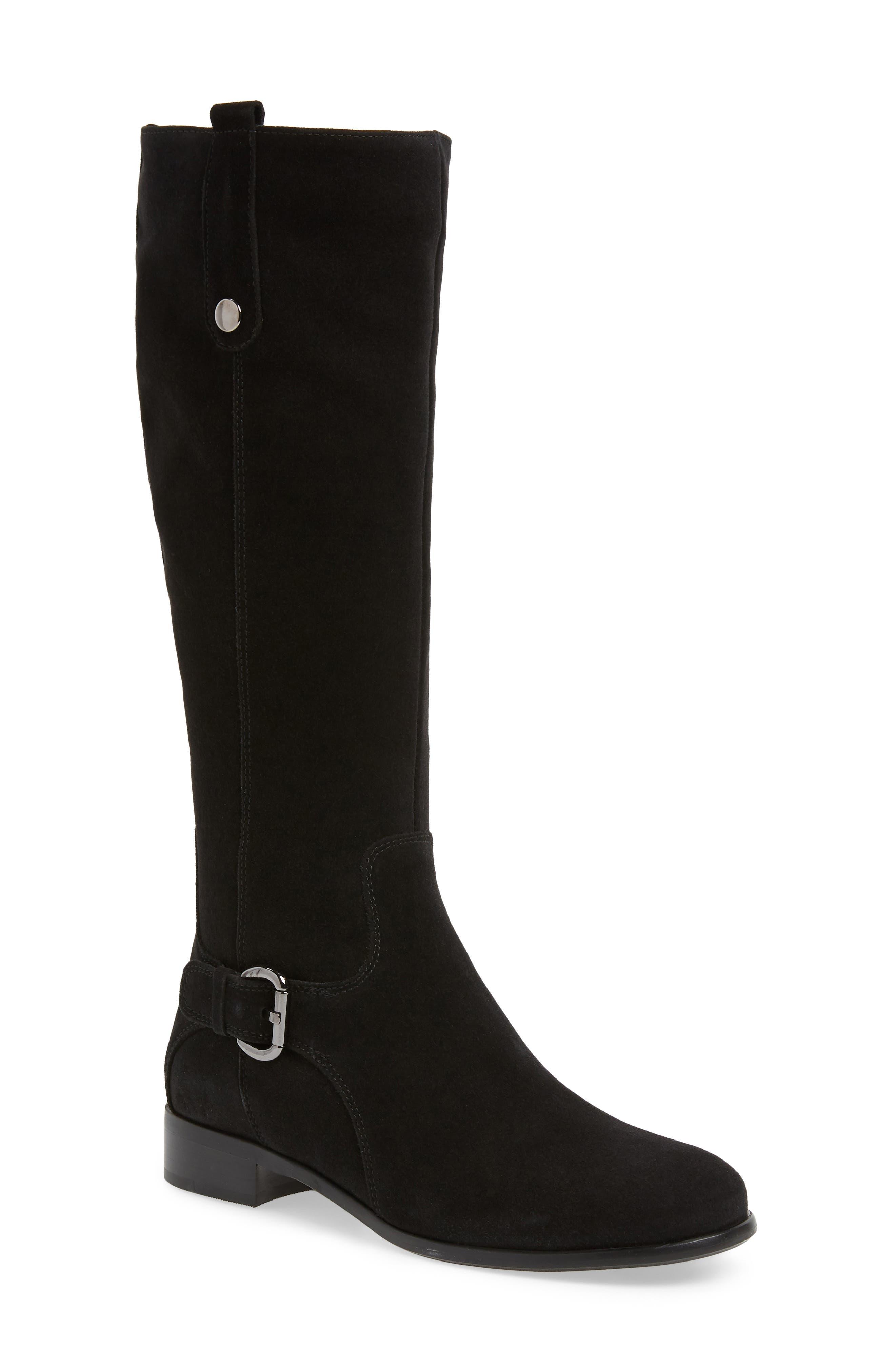 'Stefanie' Waterproof Boot,                             Main thumbnail 1, color,                             Black Suede