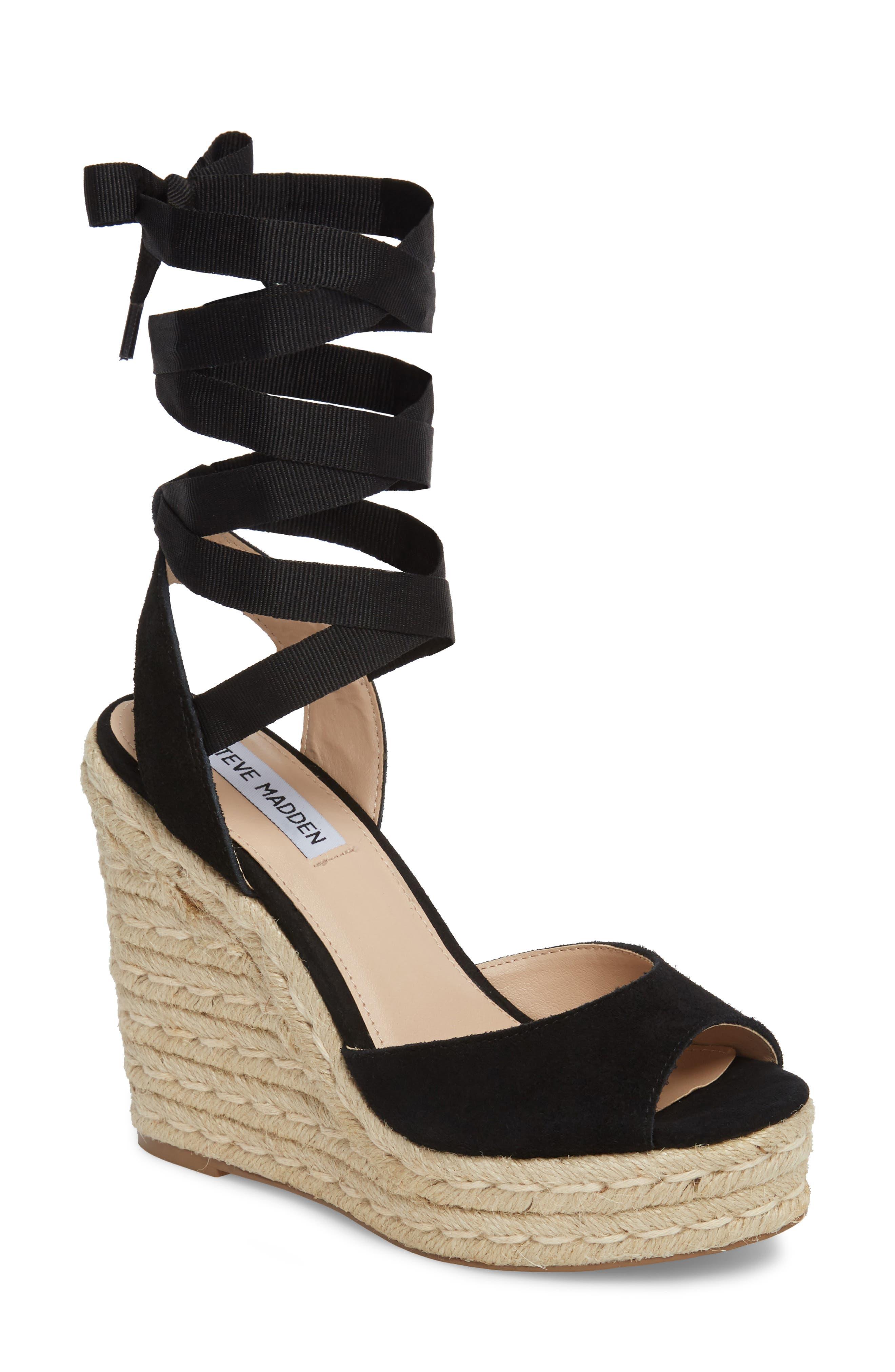 Secret Wedge Wraparound Sandal,                             Main thumbnail 1, color,                             Black Suede