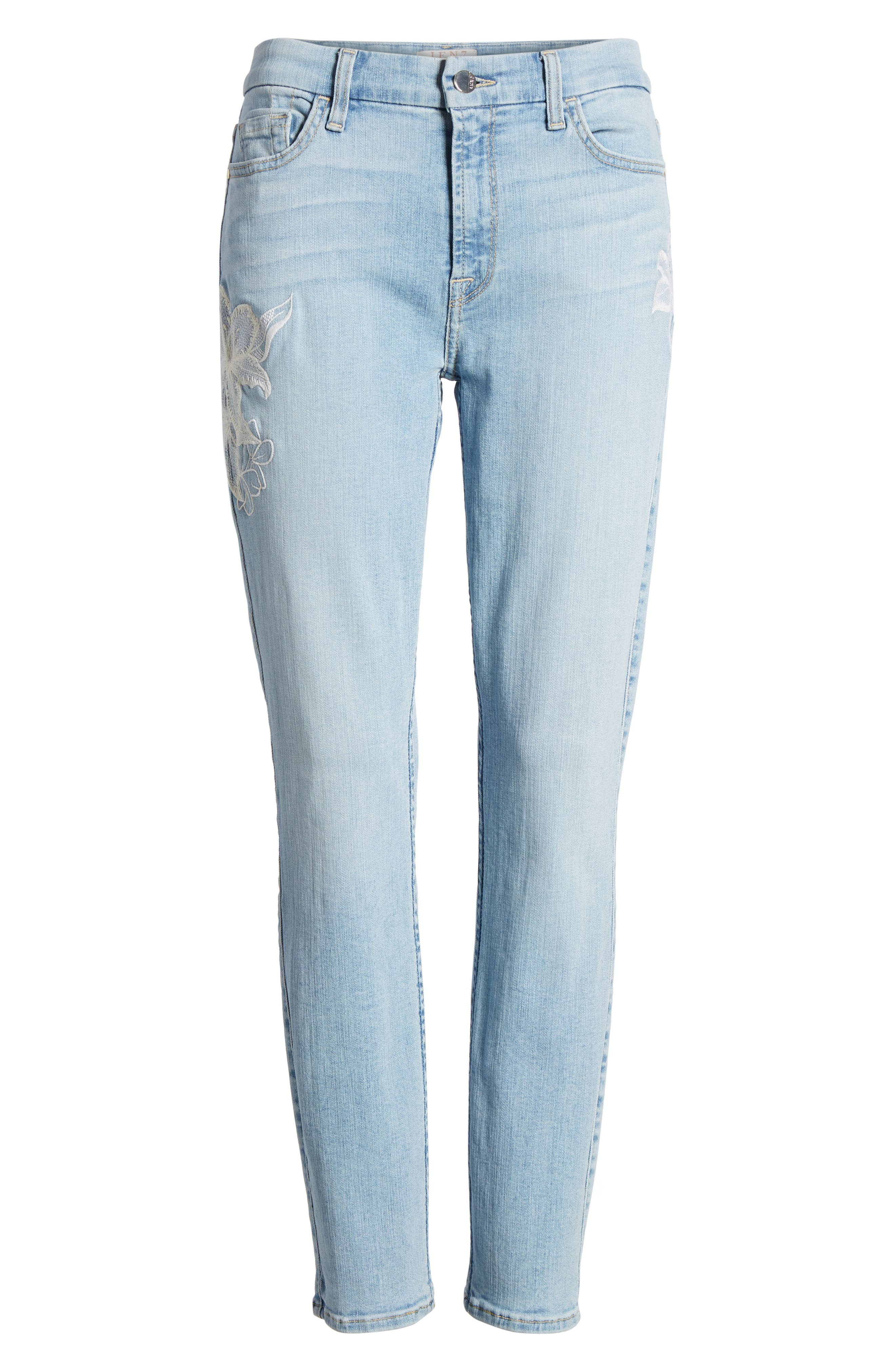 Jen 7 Embroidered Stretch Sklnny Ankle Jeans,                             Alternate thumbnail 7, color,                             Riche Touch Playa Vista