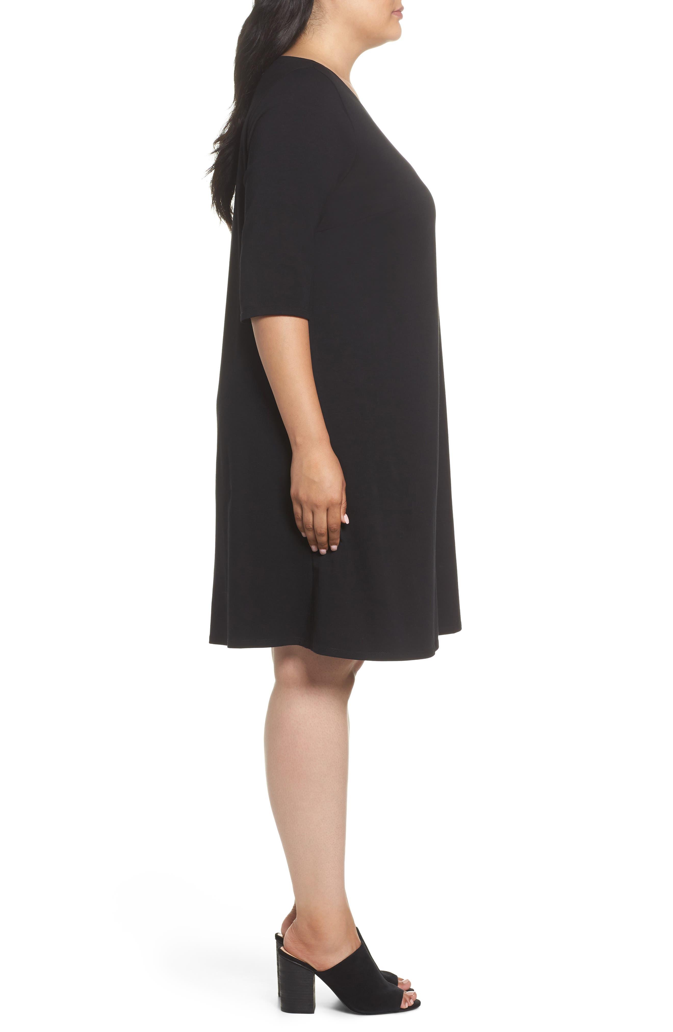 Stretch Organic Cotton Shift Dress,                             Alternate thumbnail 3, color,                             Black
