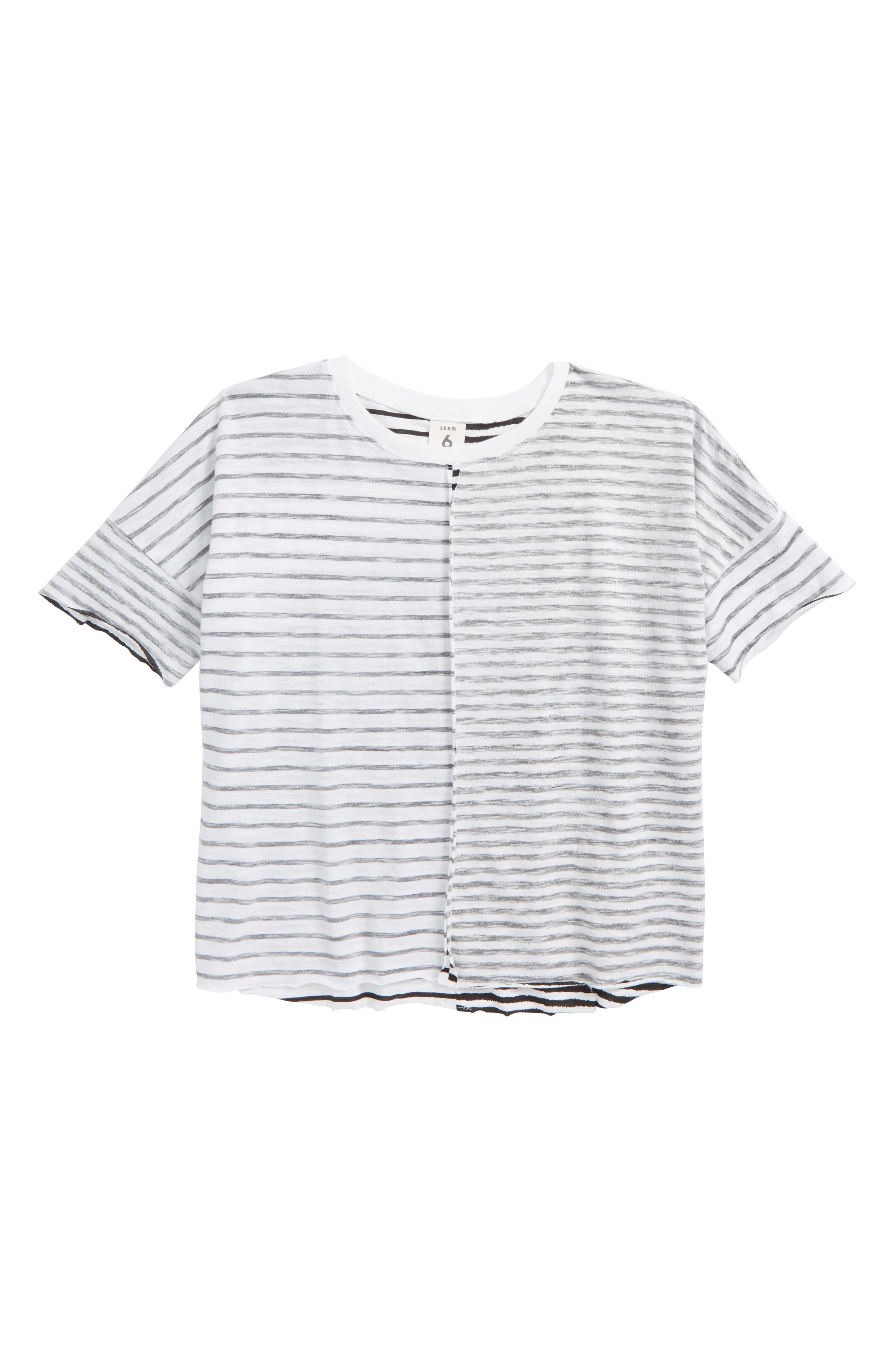 Split Stripe T-Shirt,                             Main thumbnail 1, color,                             White- Black Stripe