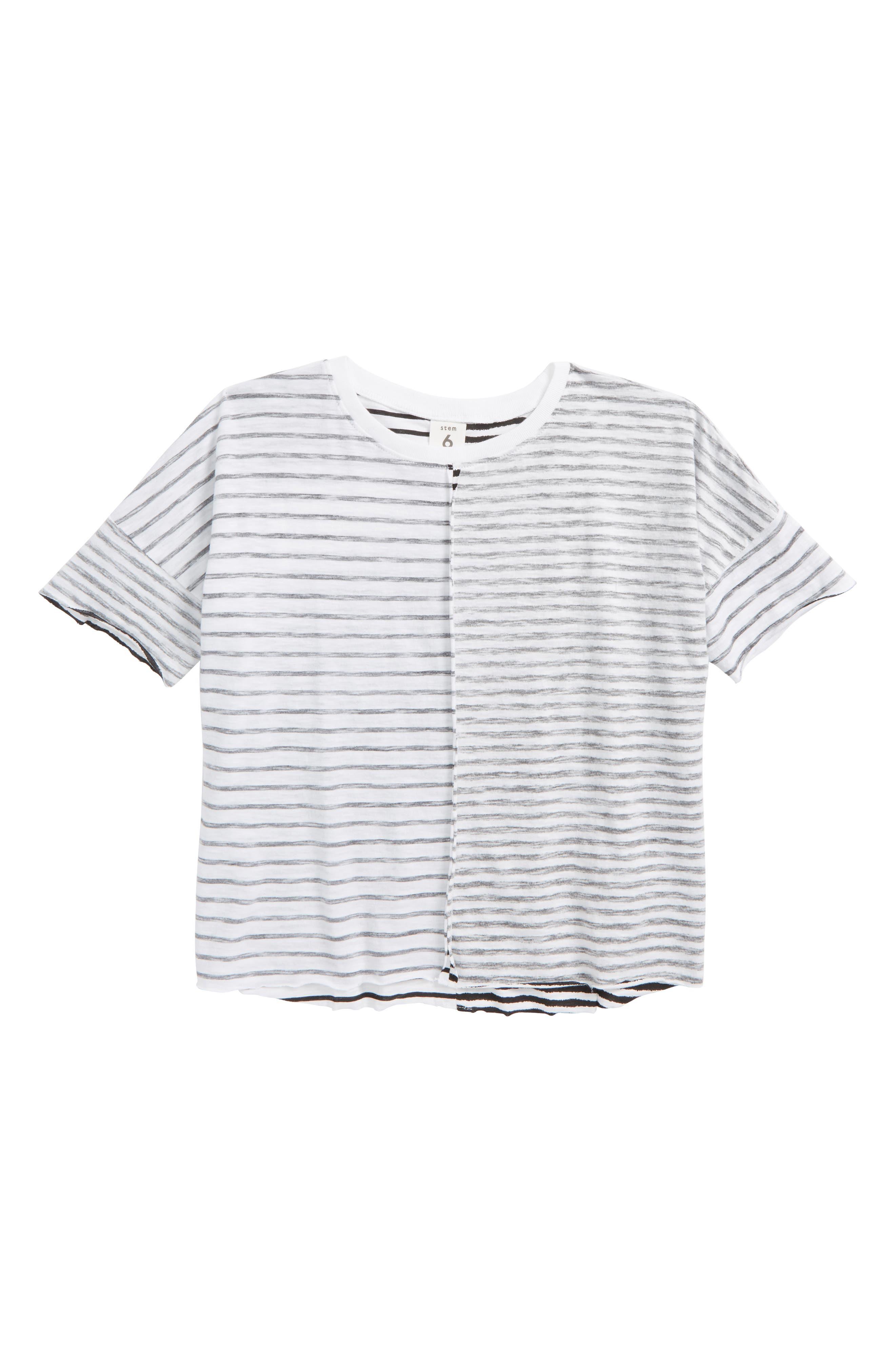 Split Stripe T-Shirt,                         Main,                         color, White- Black Stripe