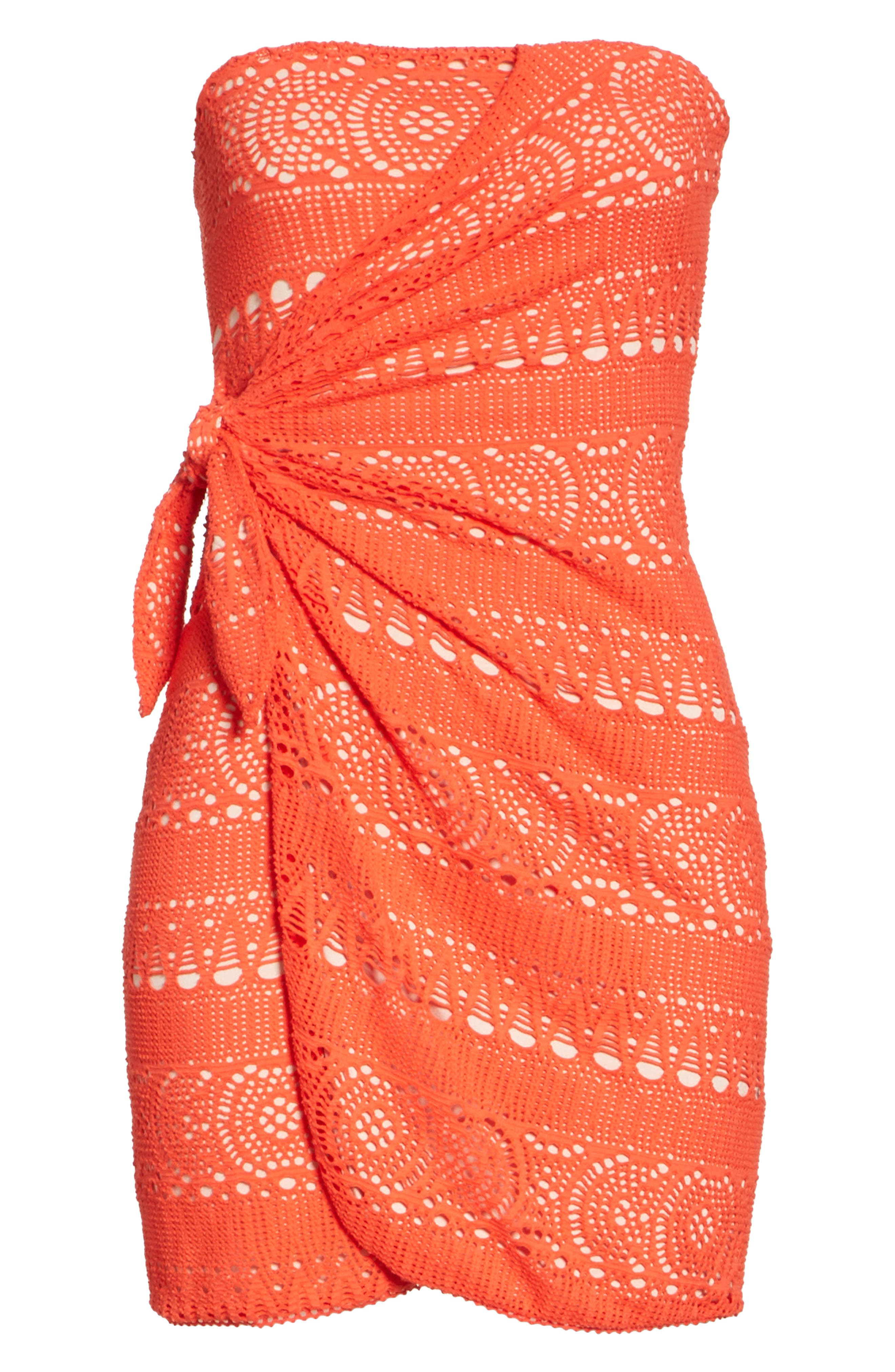 Oceanside Crochet Strapless Minidress,                             Alternate thumbnail 6, color,                             Red