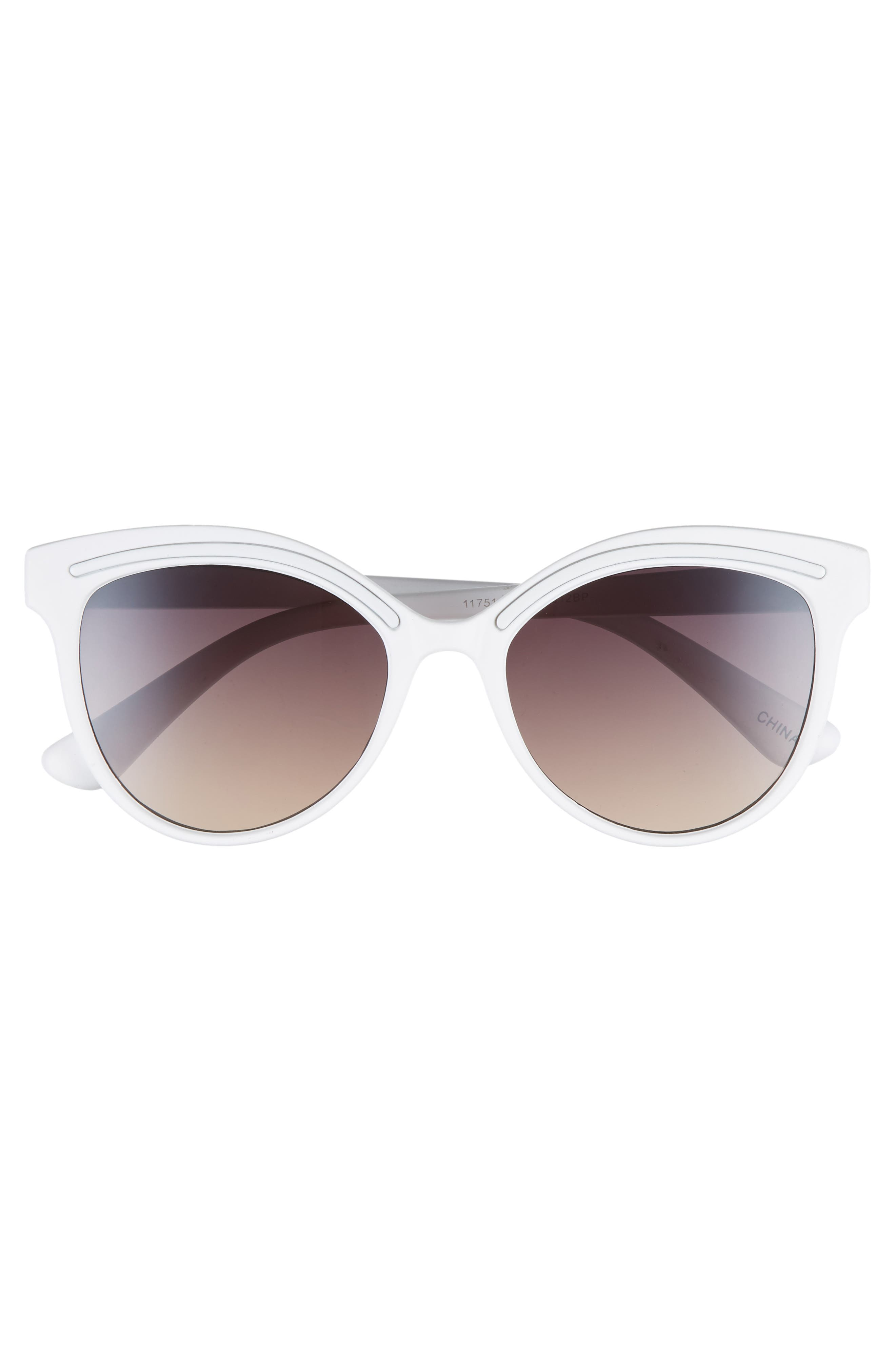59mm Metallic Accent Cat Eye Sunglasses,                             Alternate thumbnail 3, color,                             White