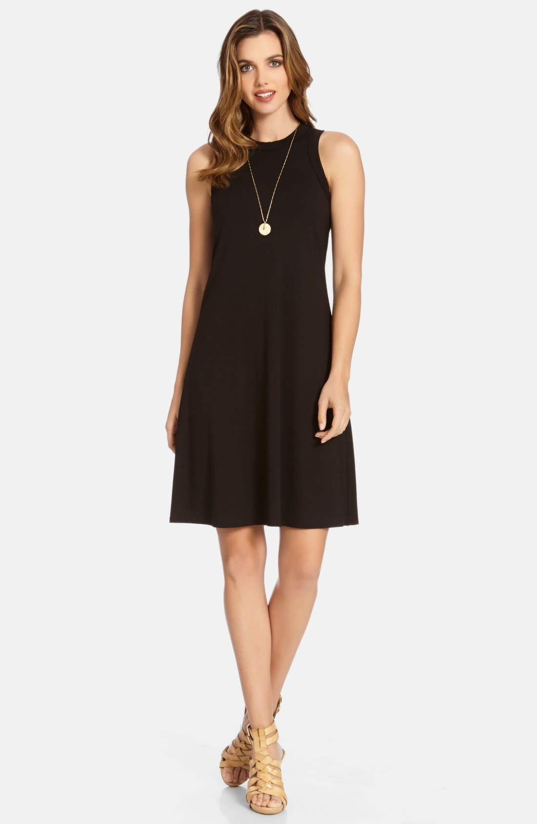 High Neck A-Line Dress,                             Main thumbnail 1, color,                             Black