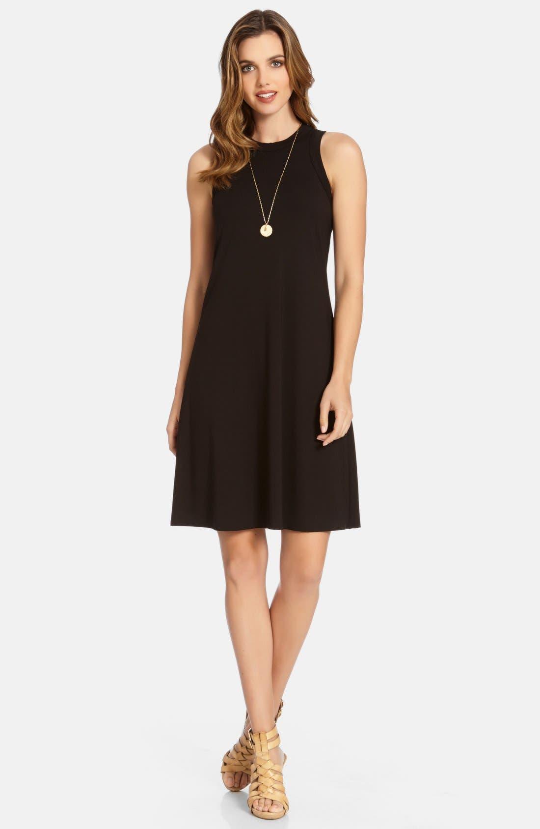 High Neck A-Line Dress,                         Main,                         color, Black