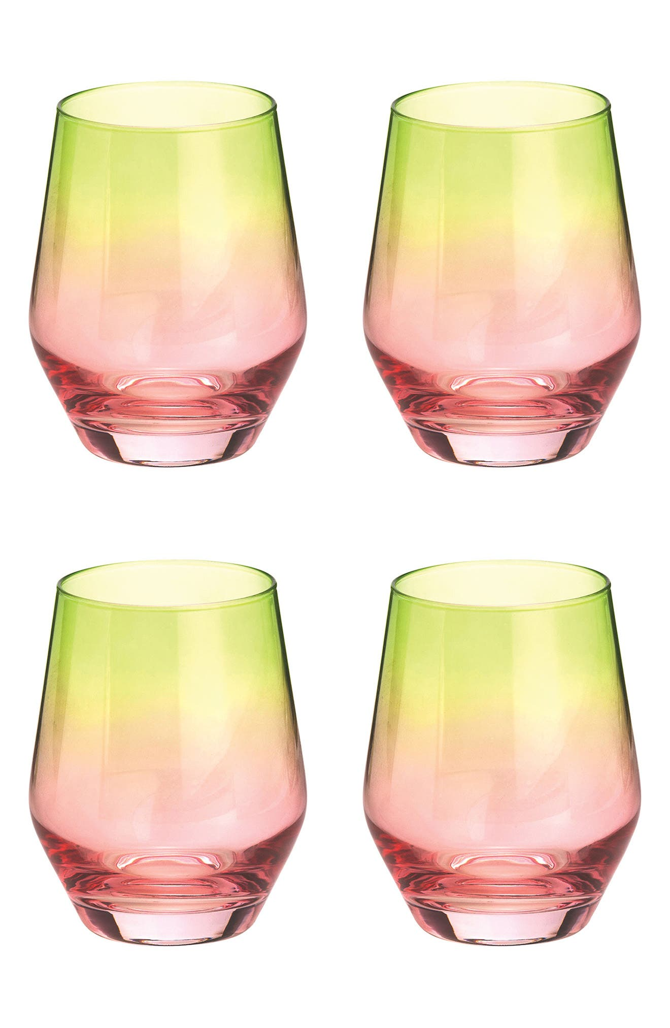 Zesty Life Set of 4 Highball Glasses,                         Main,                         color, Watermelon