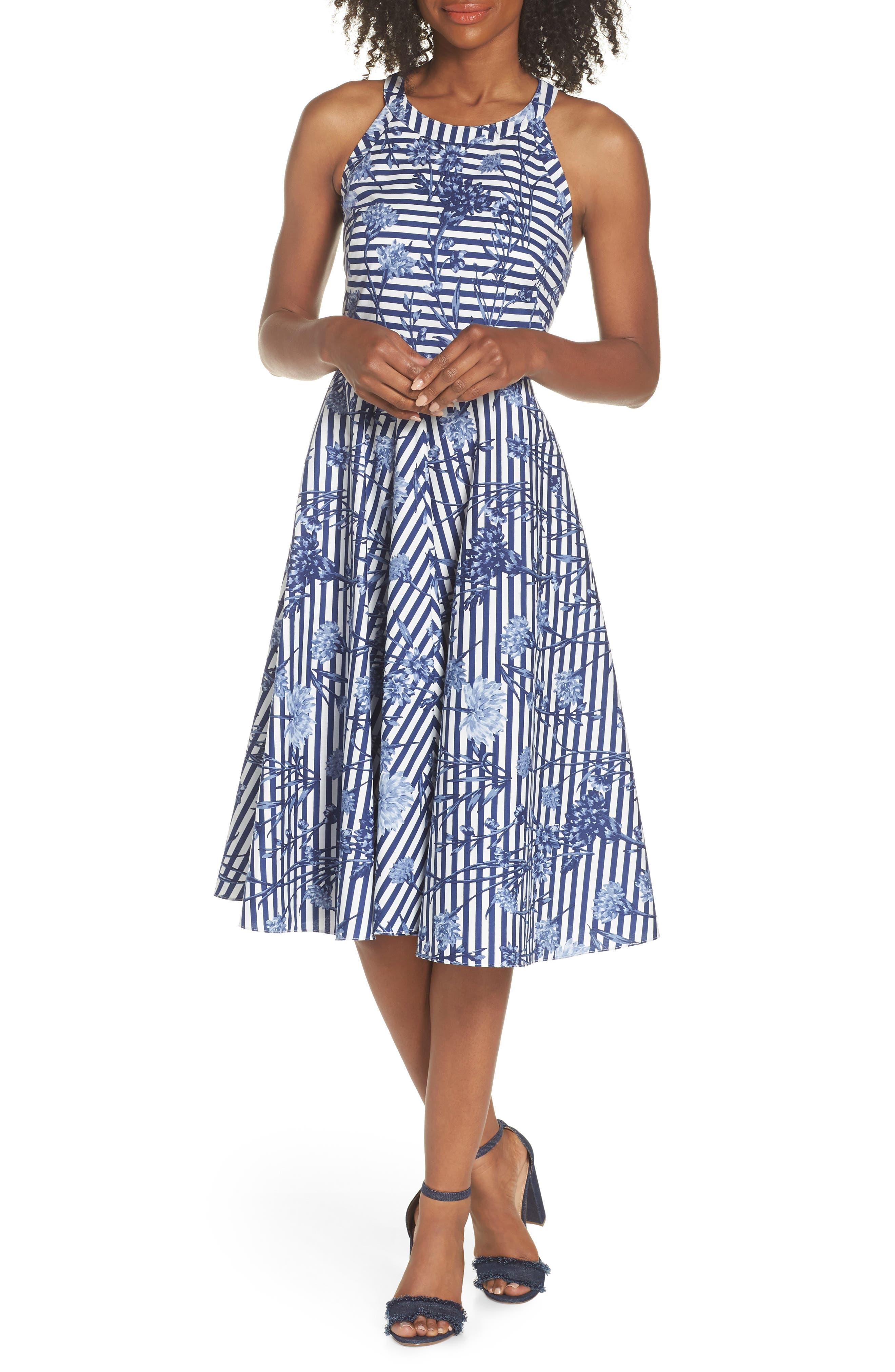 Floral Stripe Halter Fit & Flare Poplin Dress,                             Main thumbnail 1, color,                             Blue/ White