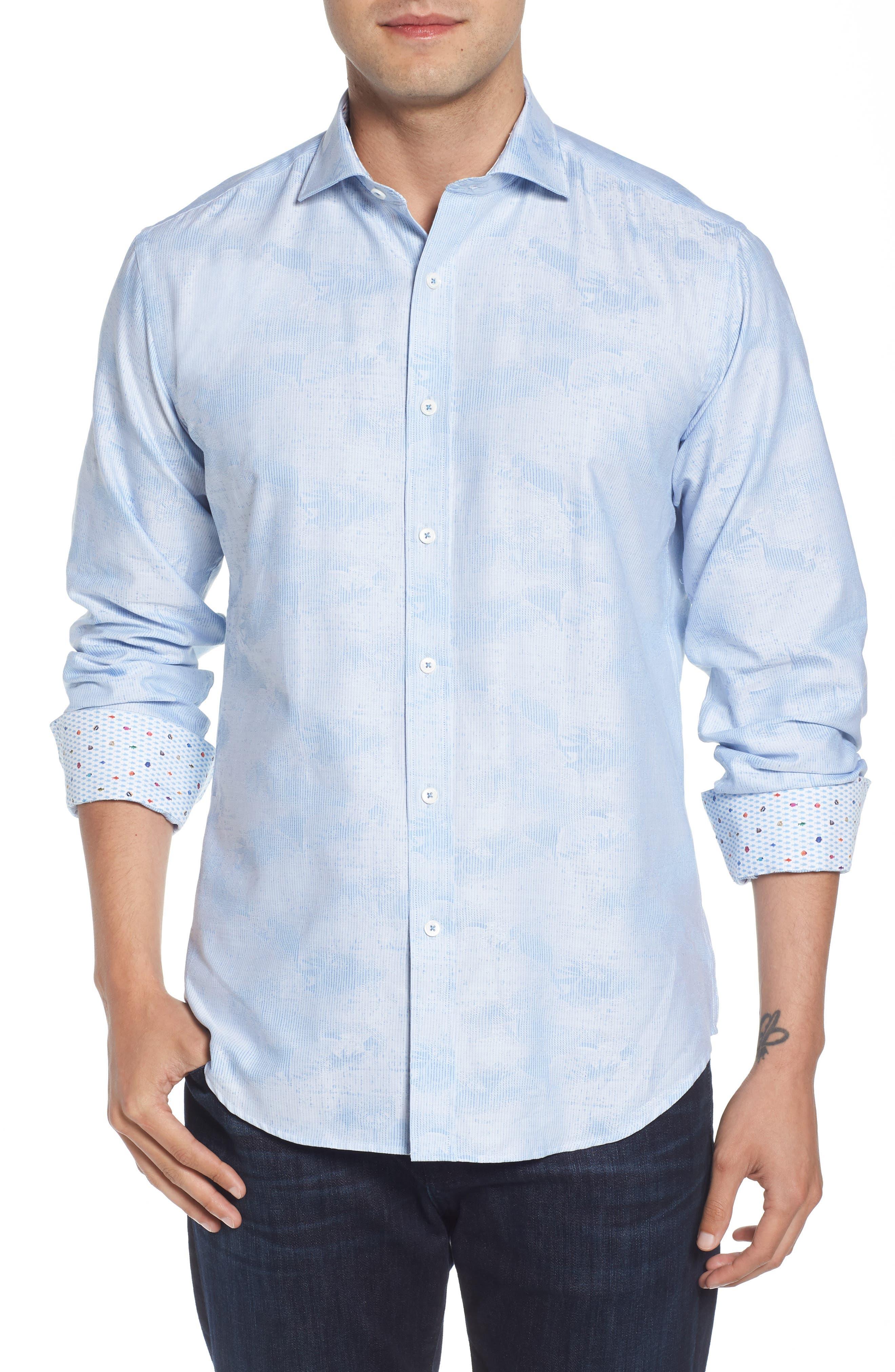 Woven Sport Shirt,                         Main,                         color, Sky