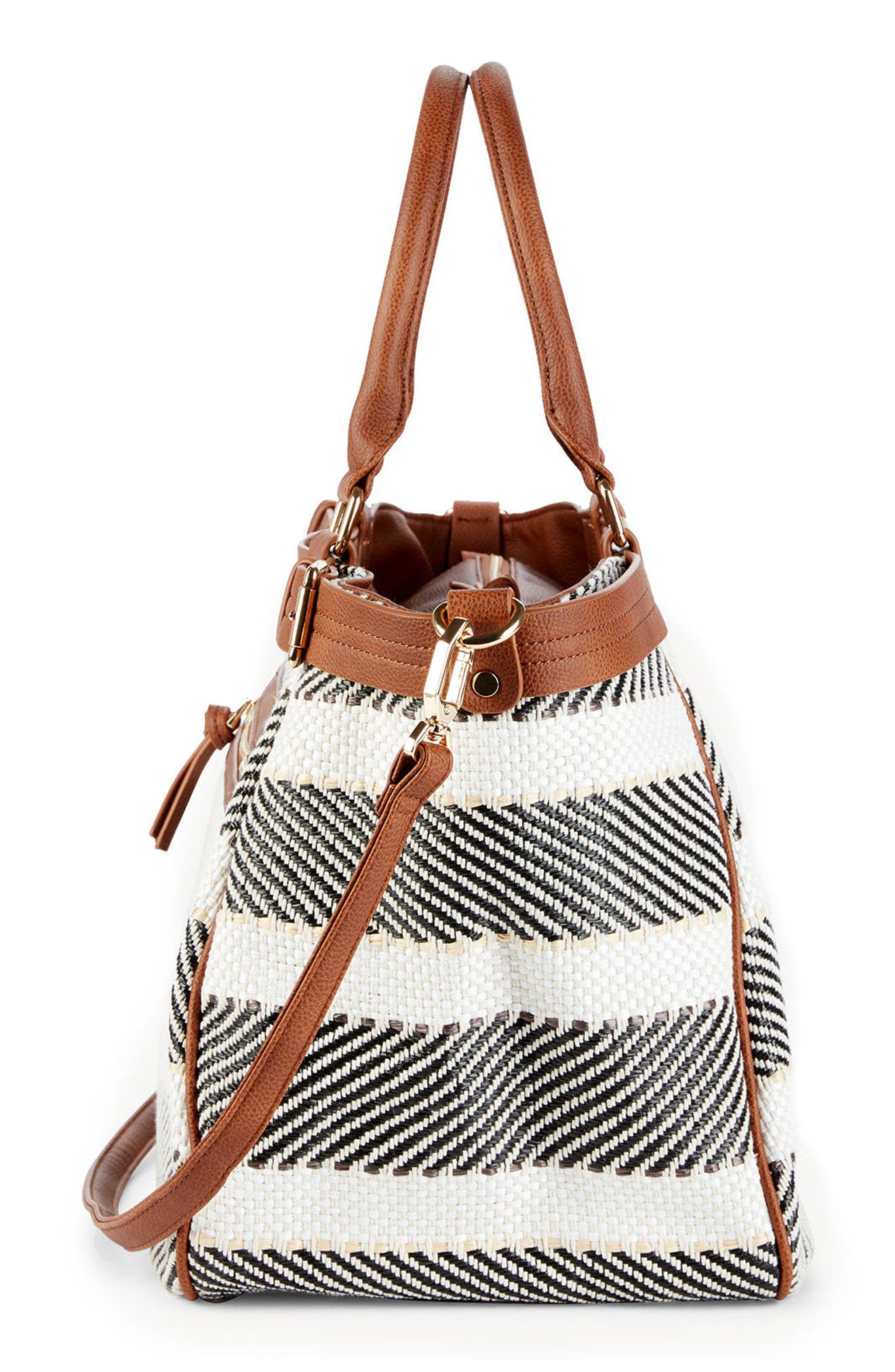 Stripe Woven Weekend Bag,                             Alternate thumbnail 5, color,                             Black/ Cream Combo