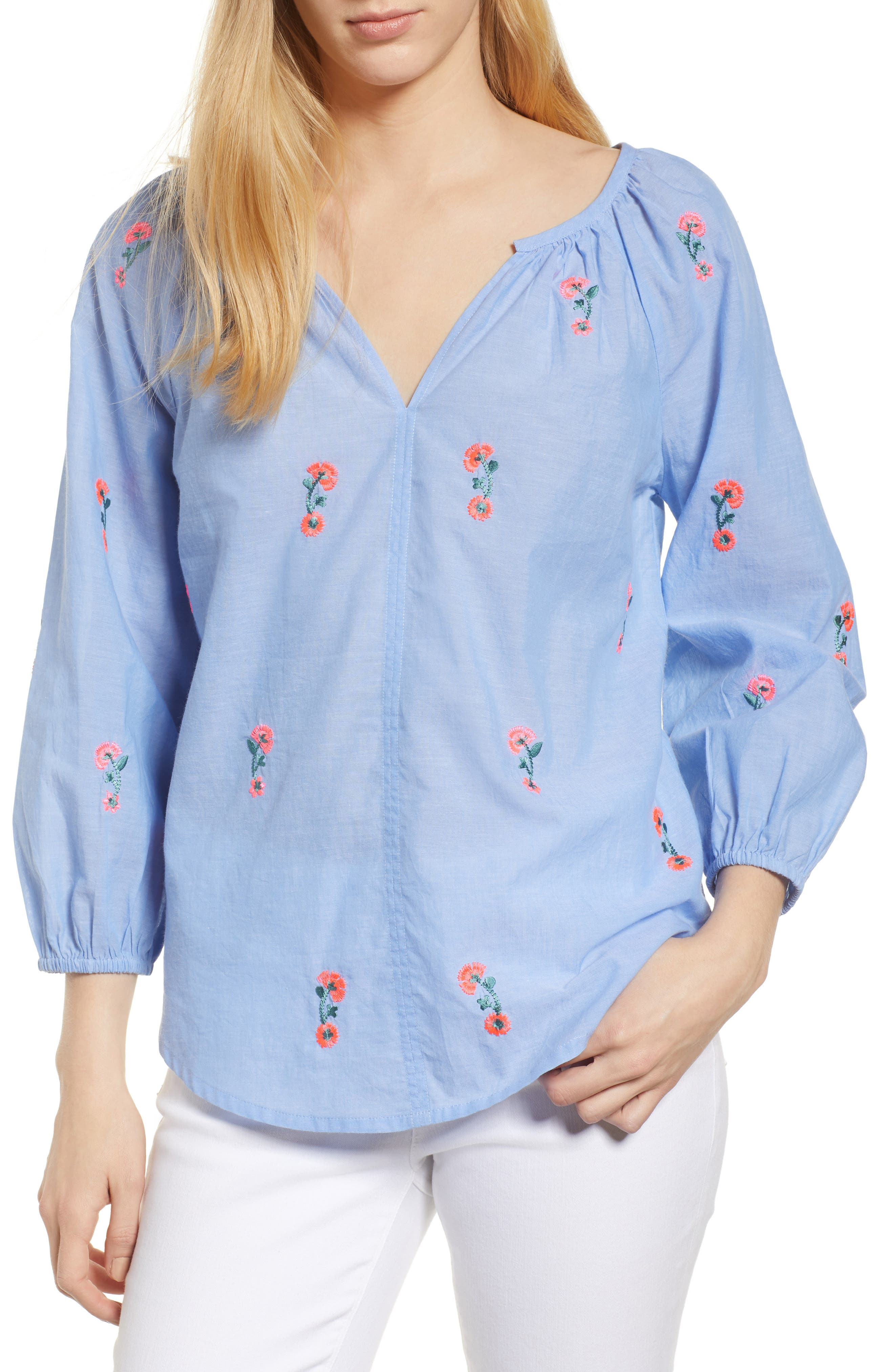Embroidered Cotton Peasant Blouse,                         Main,                         color, Chambray