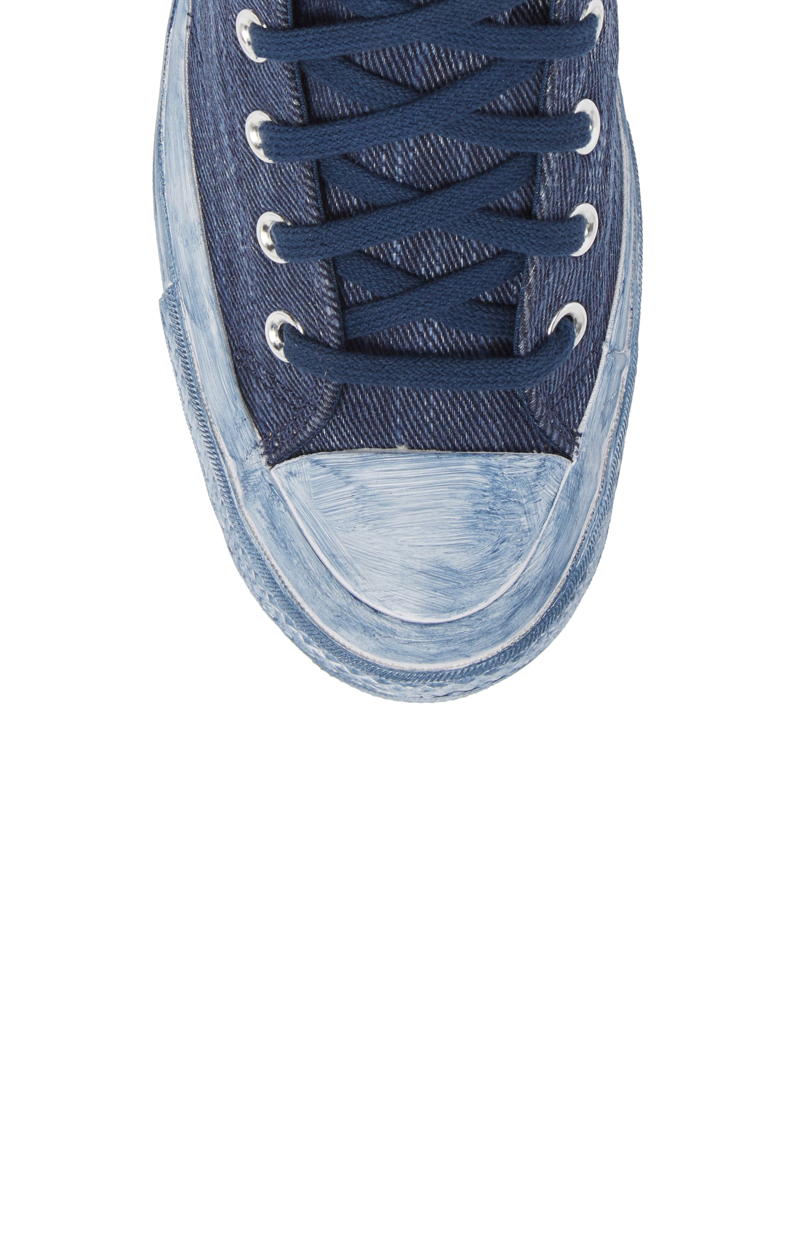 Chuck Taylor<sup>®</sup> All Star<sup>®</sup> Overdyed Linen High Top Sneaker,                             Alternate thumbnail 5, color,                             Navy