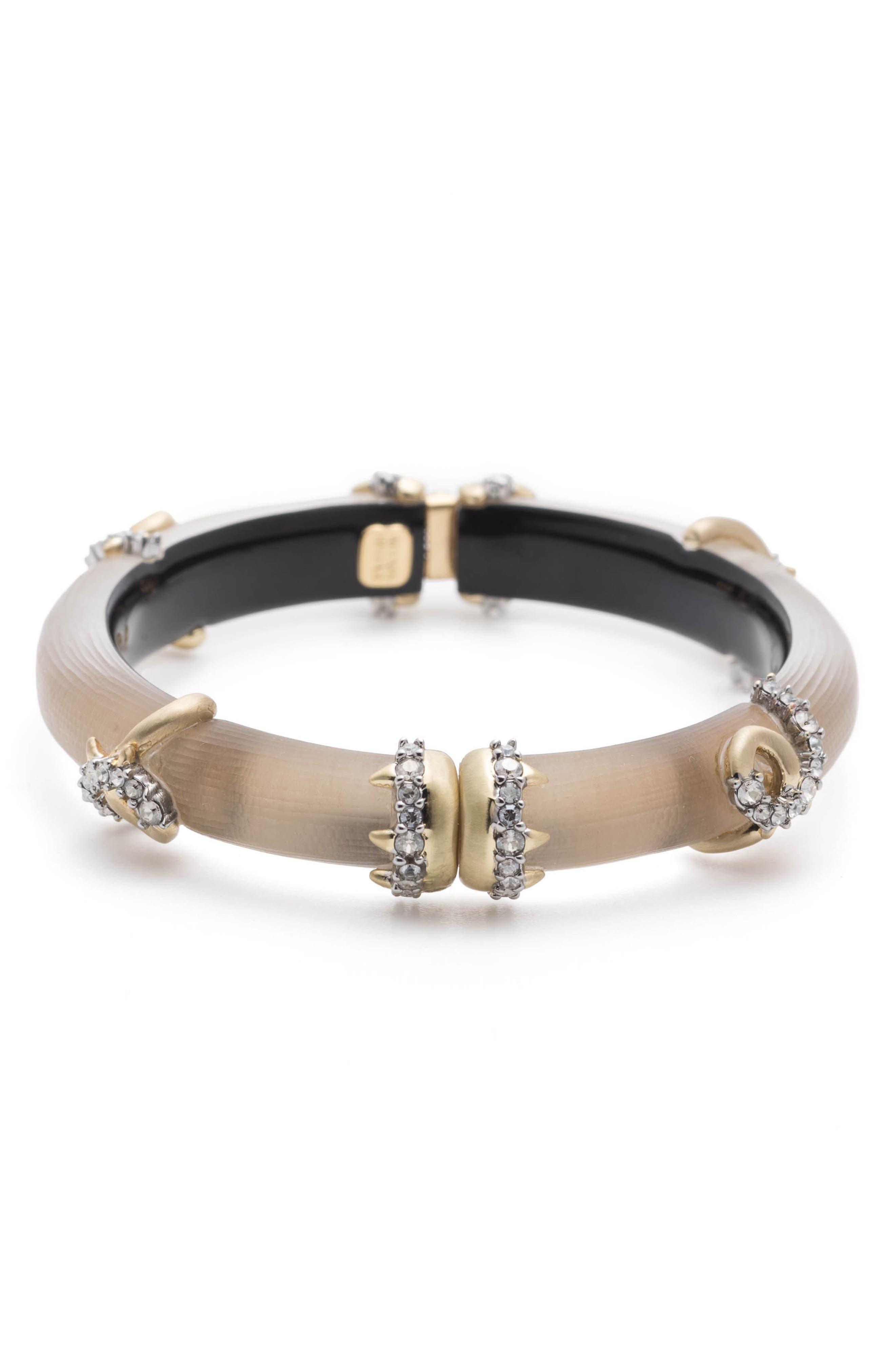 Crystal Encrusted Open Knot Bracelet,                             Alternate thumbnail 3, color,                             Sun Gold