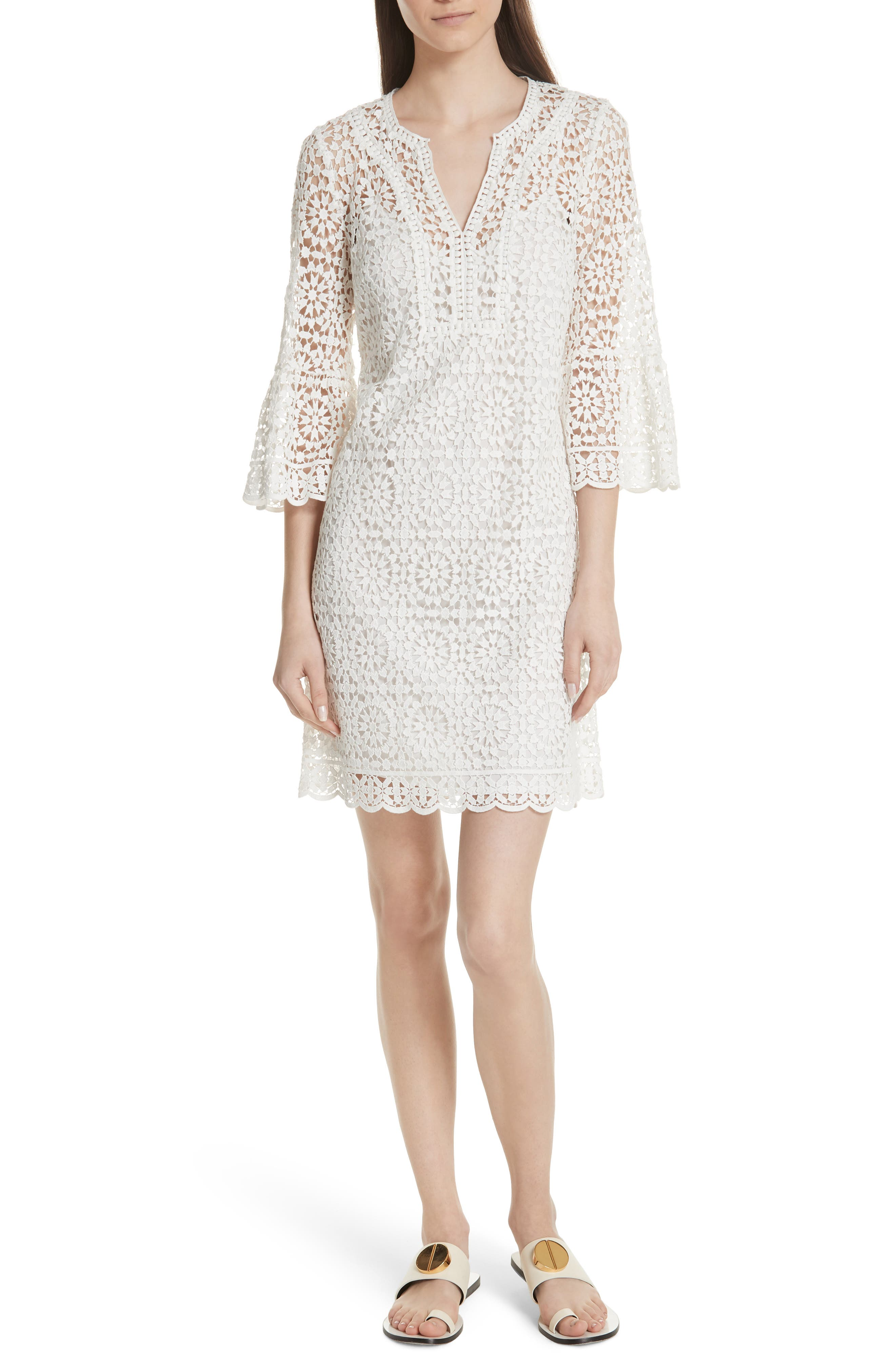 bell sleeve crochet shift dress,                         Main,                         color, Cream
