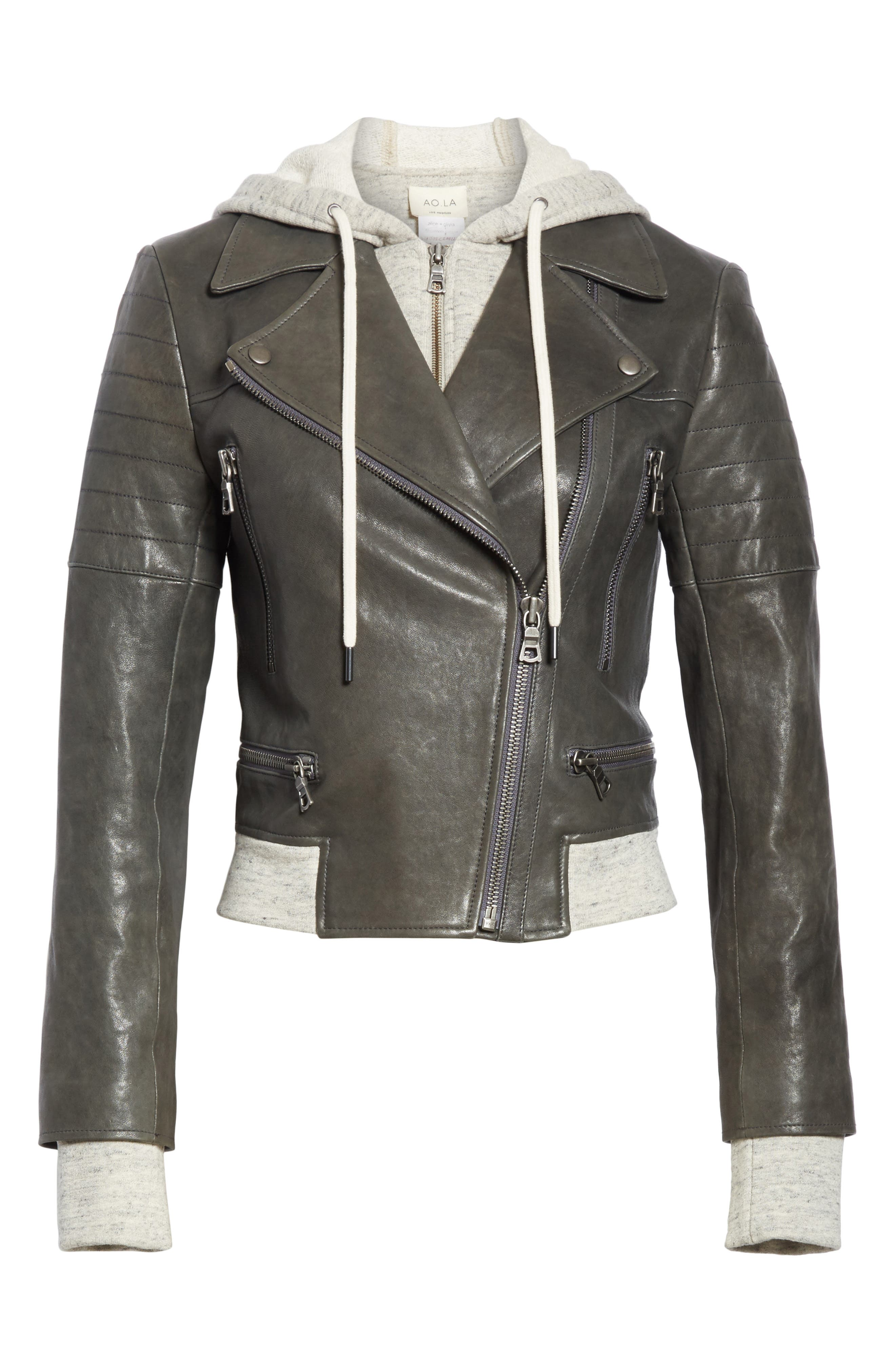 Avril Hooded Combo Leather Jacket,                             Alternate thumbnail 7, color,                             Charcoal