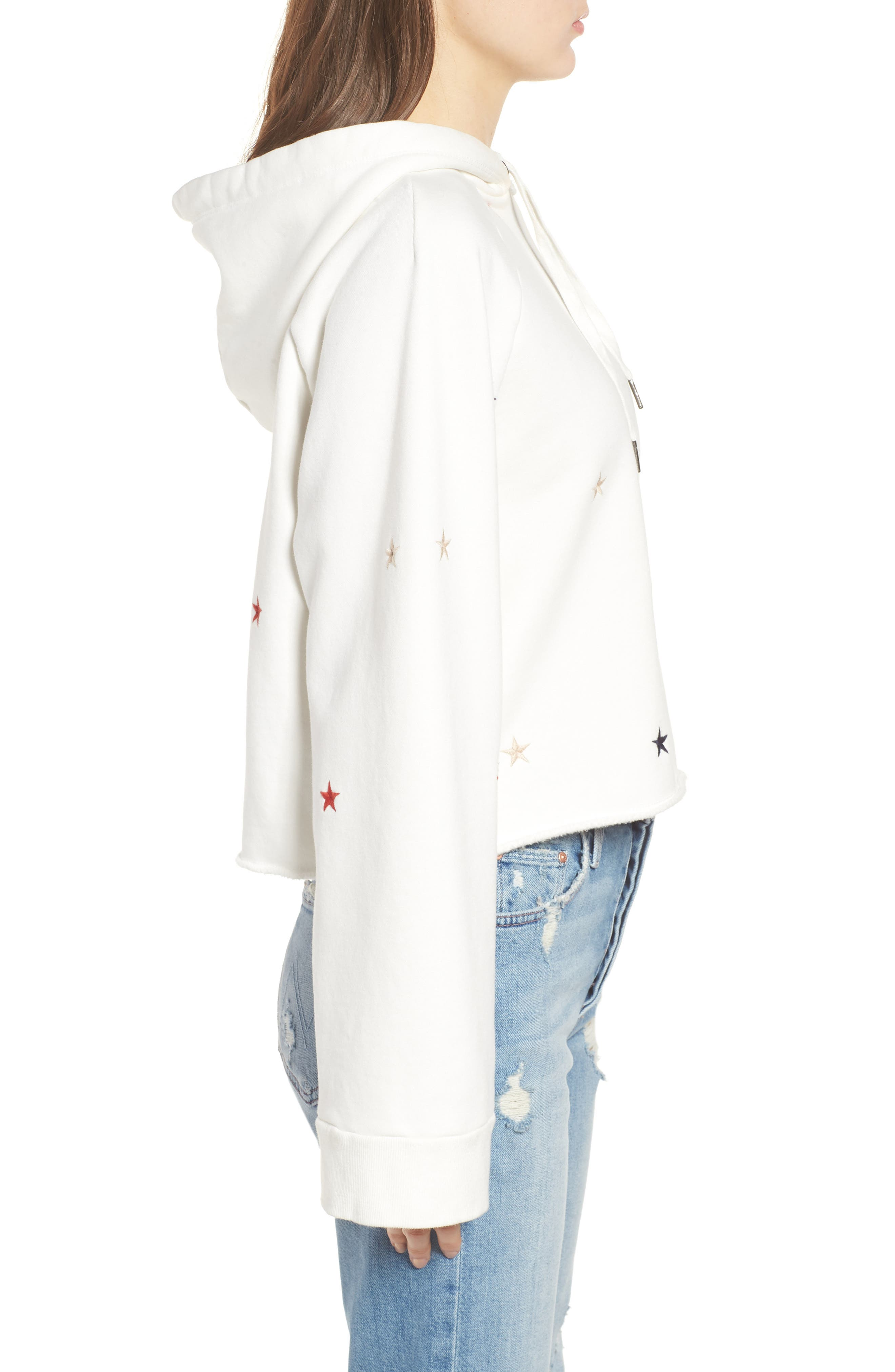Crop Hooded Sweatshirt,                             Alternate thumbnail 3, color,                             Off White