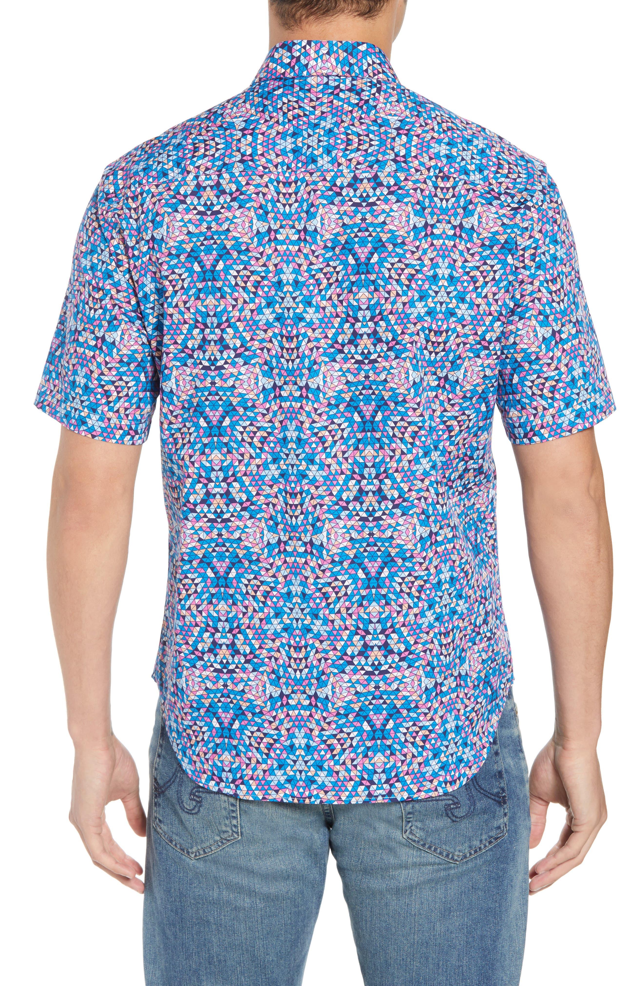Alvin Regular Fit Print Sport Shirt,                             Alternate thumbnail 3, color,                             Teal