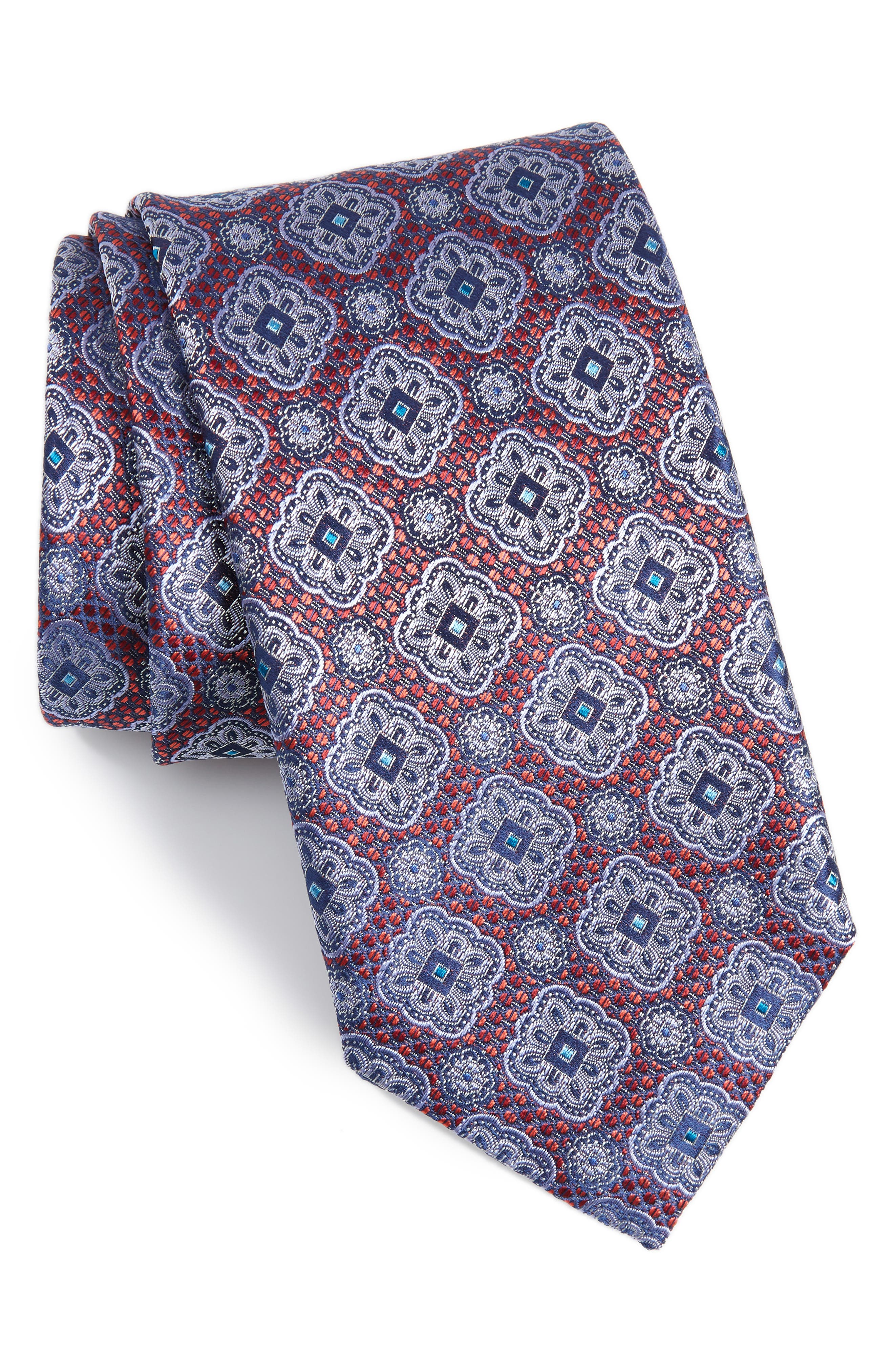 Medallion Silk Tie,                             Main thumbnail 1, color,                             Dark Red