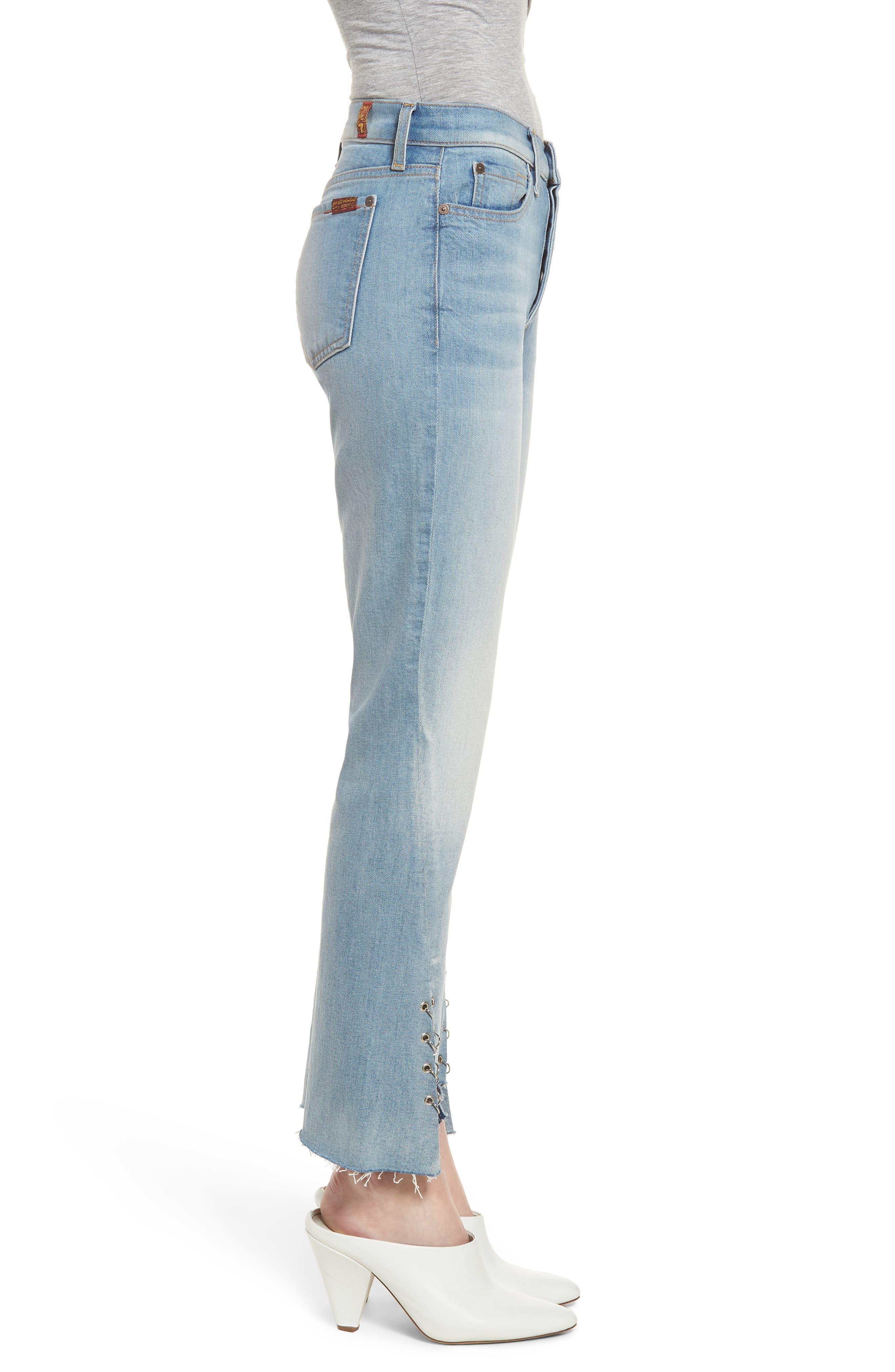 Edie Grommet & Rings Seam Crop Jeans,                             Alternate thumbnail 3, color,                             Light Riviera