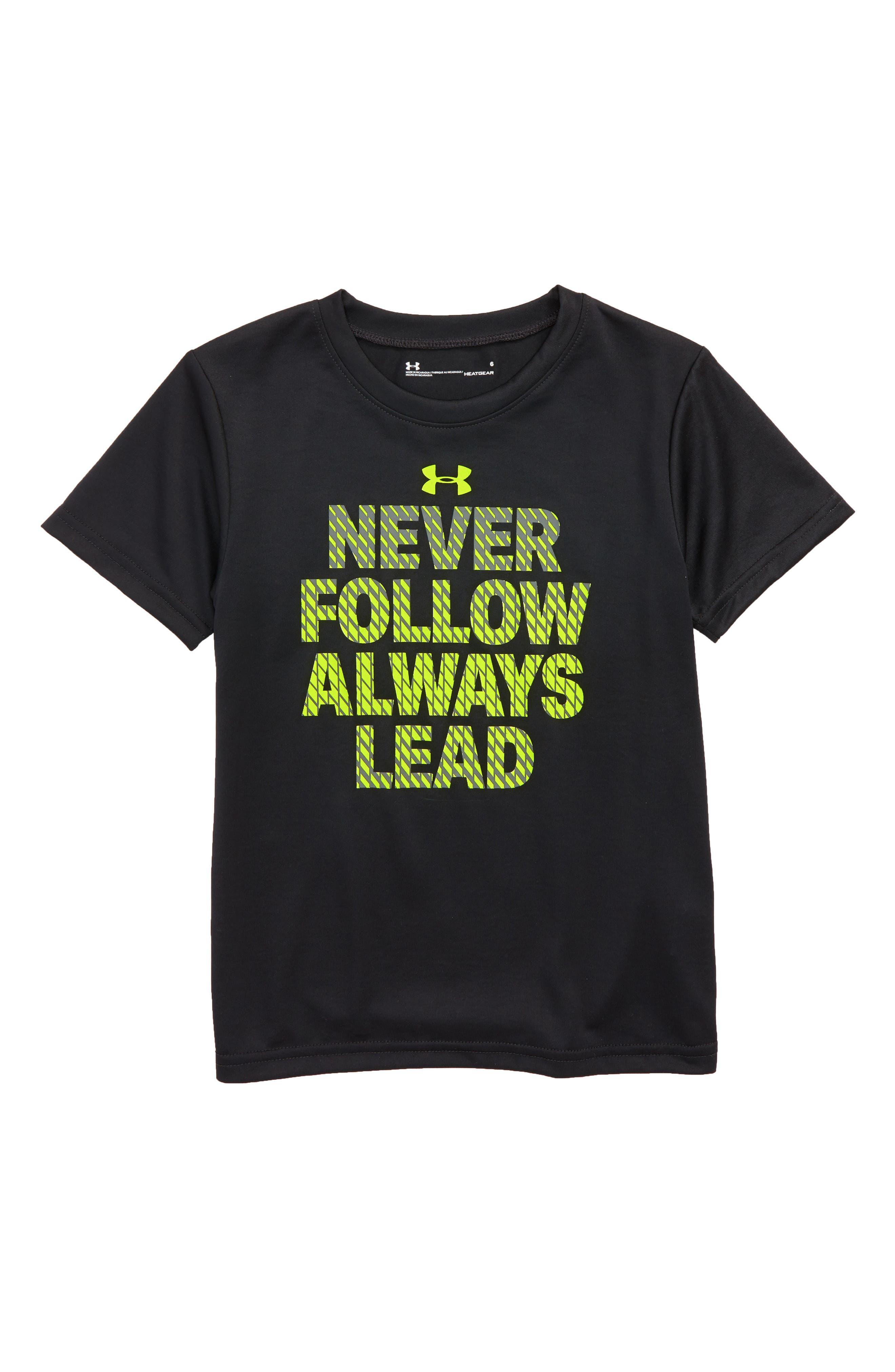 Never Follow Always Lead HeatGear<sup>®</sup> T-Shirt,                             Main thumbnail 1, color,                             Black