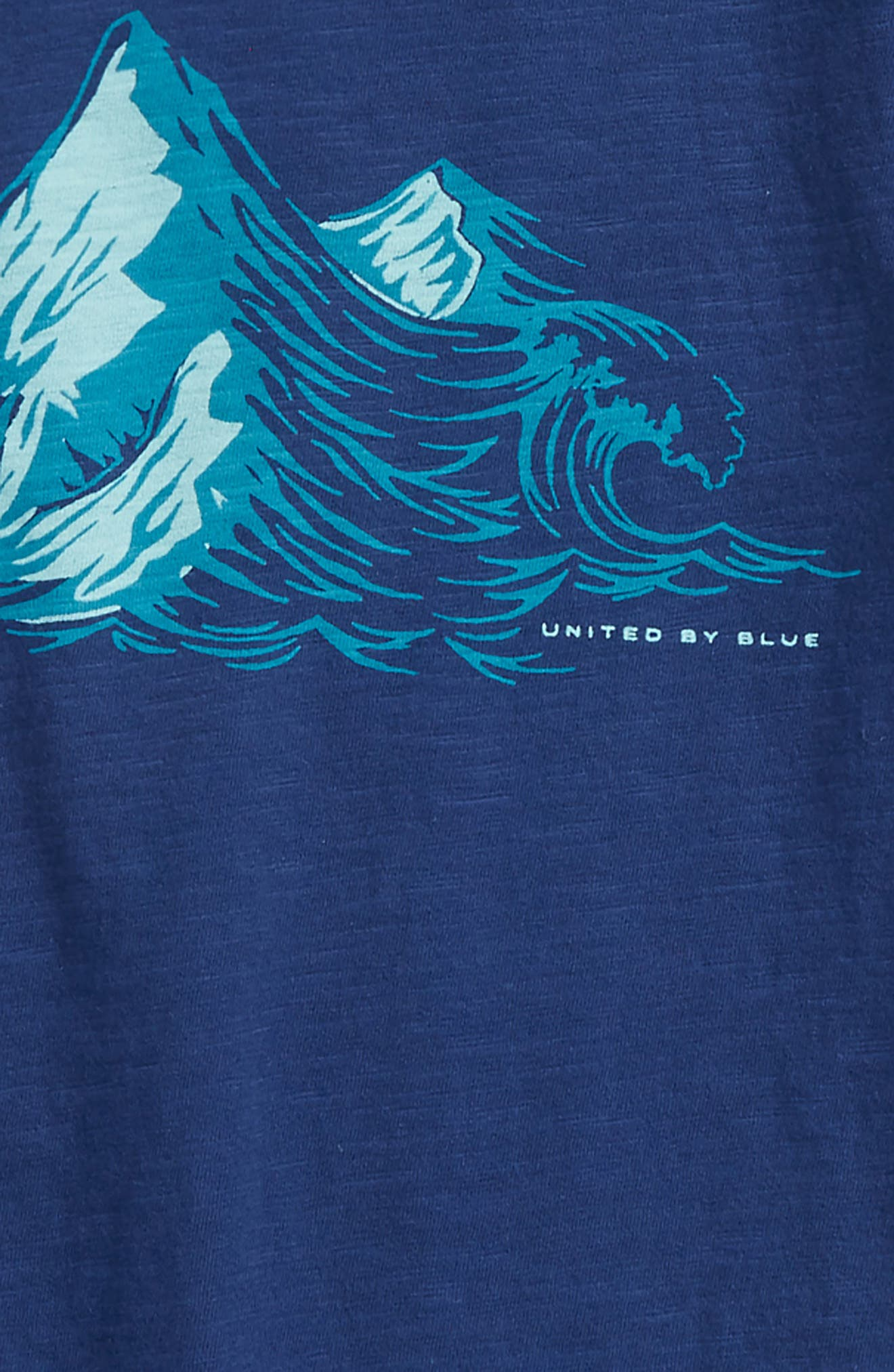 Peaks Graphic Organic Cotton T-Shirt,                             Alternate thumbnail 2, color,                             Navy