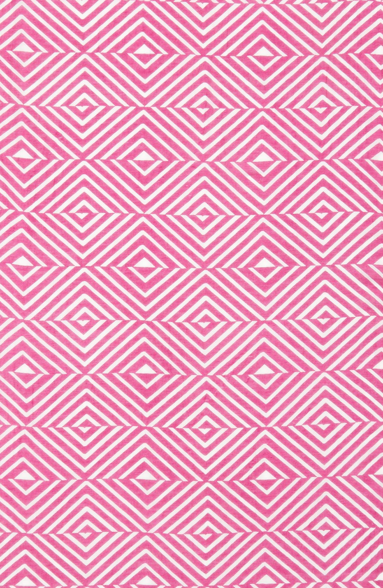 Geo Print Organic Cotton Blend Scarf,                             Alternate thumbnail 4, color,                             Cerise