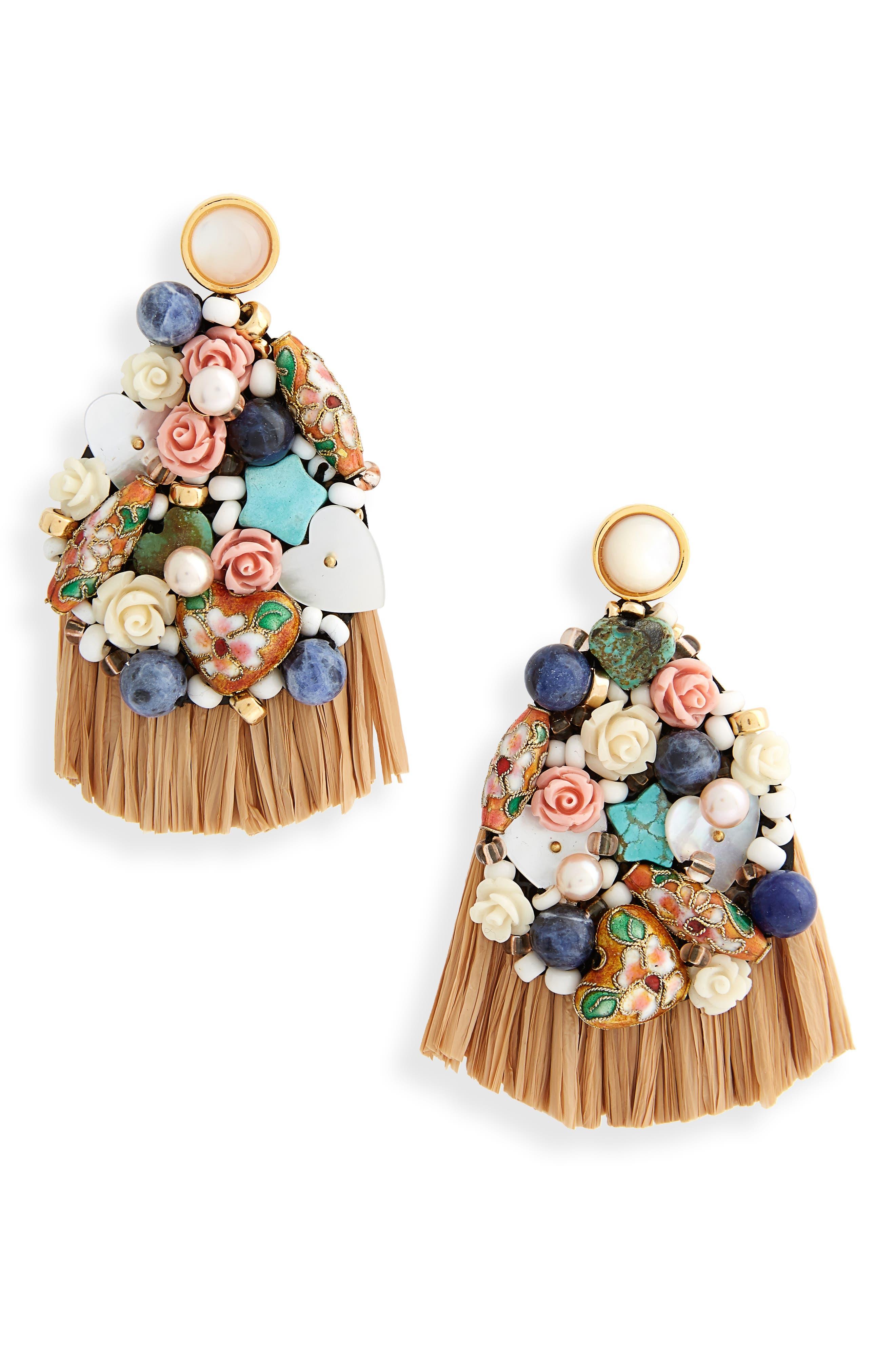 Daydream Raffia Drop Earrings,                         Main,                         color, Multi