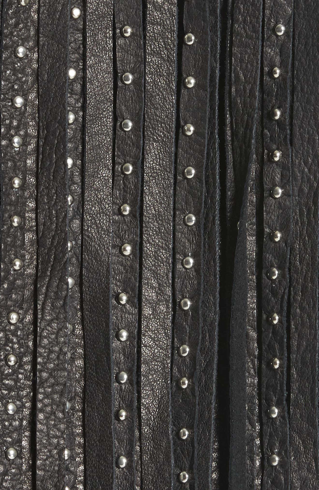 Studded Lace Inset Leather Jacket,                             Alternate thumbnail 5, color,                             Jet Optic