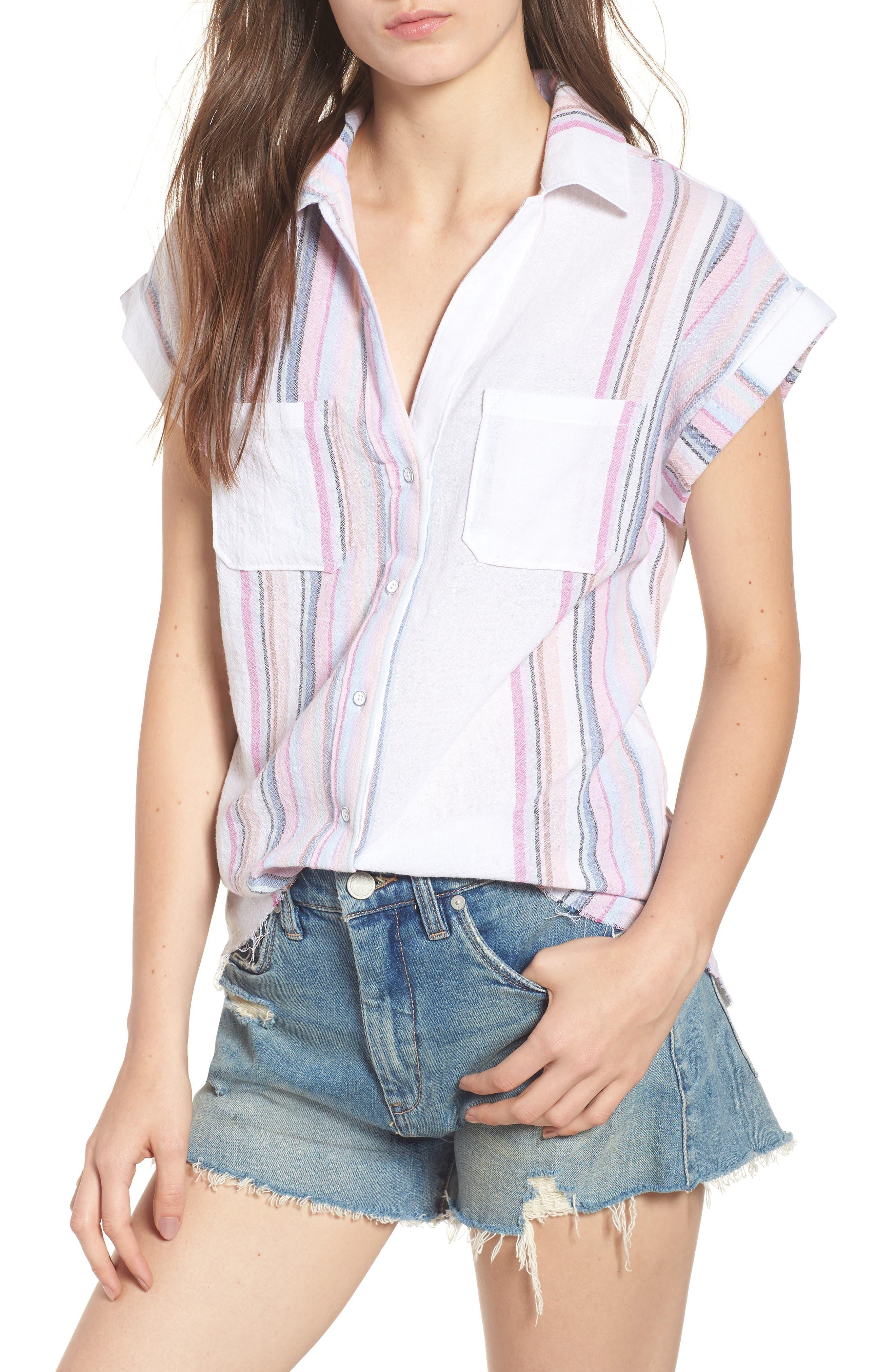 Stripe Camp Shirt,                         Main,                         color, Josephina Rainbow Stripe