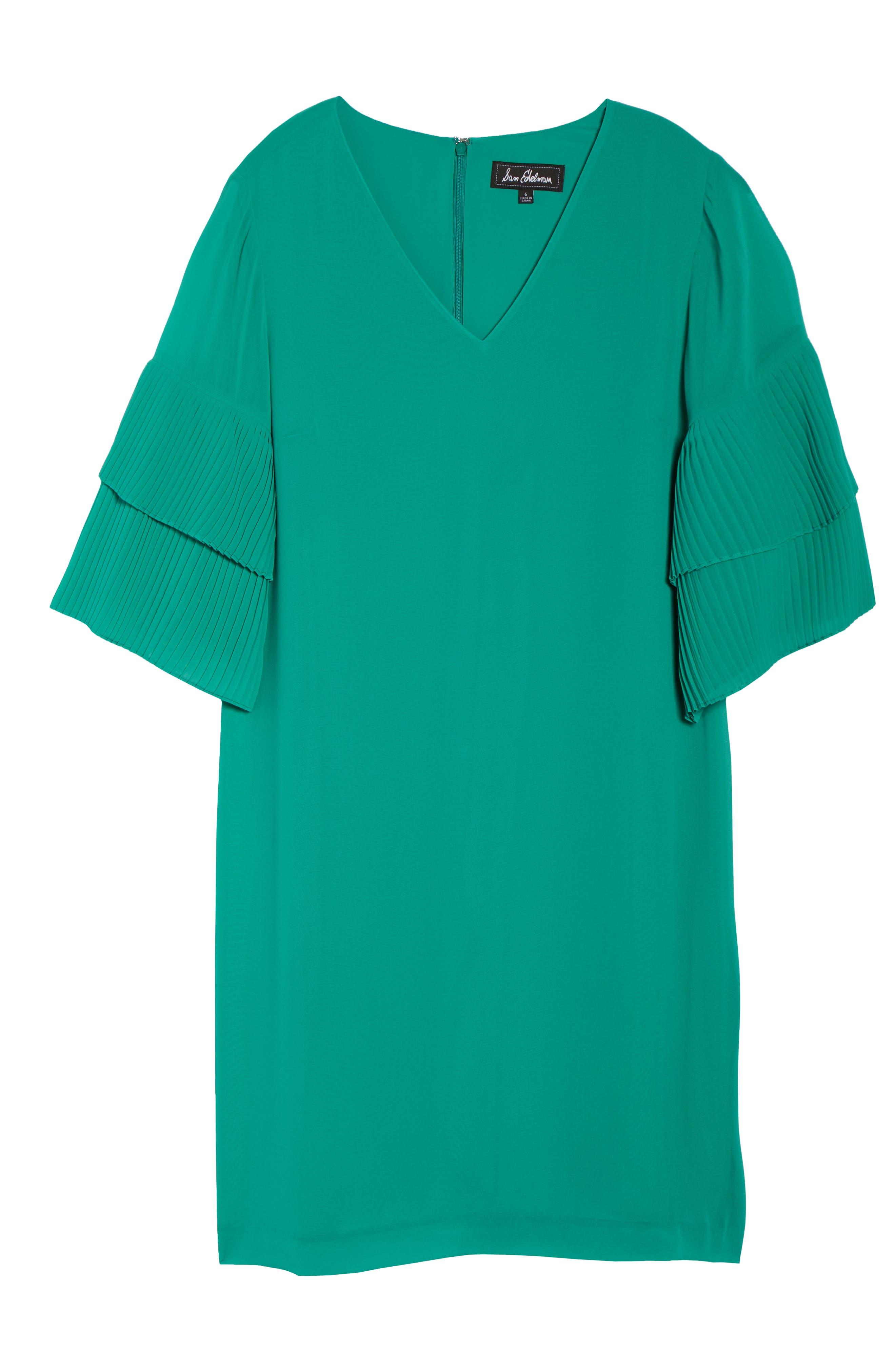 Pleat Sleeve Shift Dress,                             Alternate thumbnail 7, color,                             Green