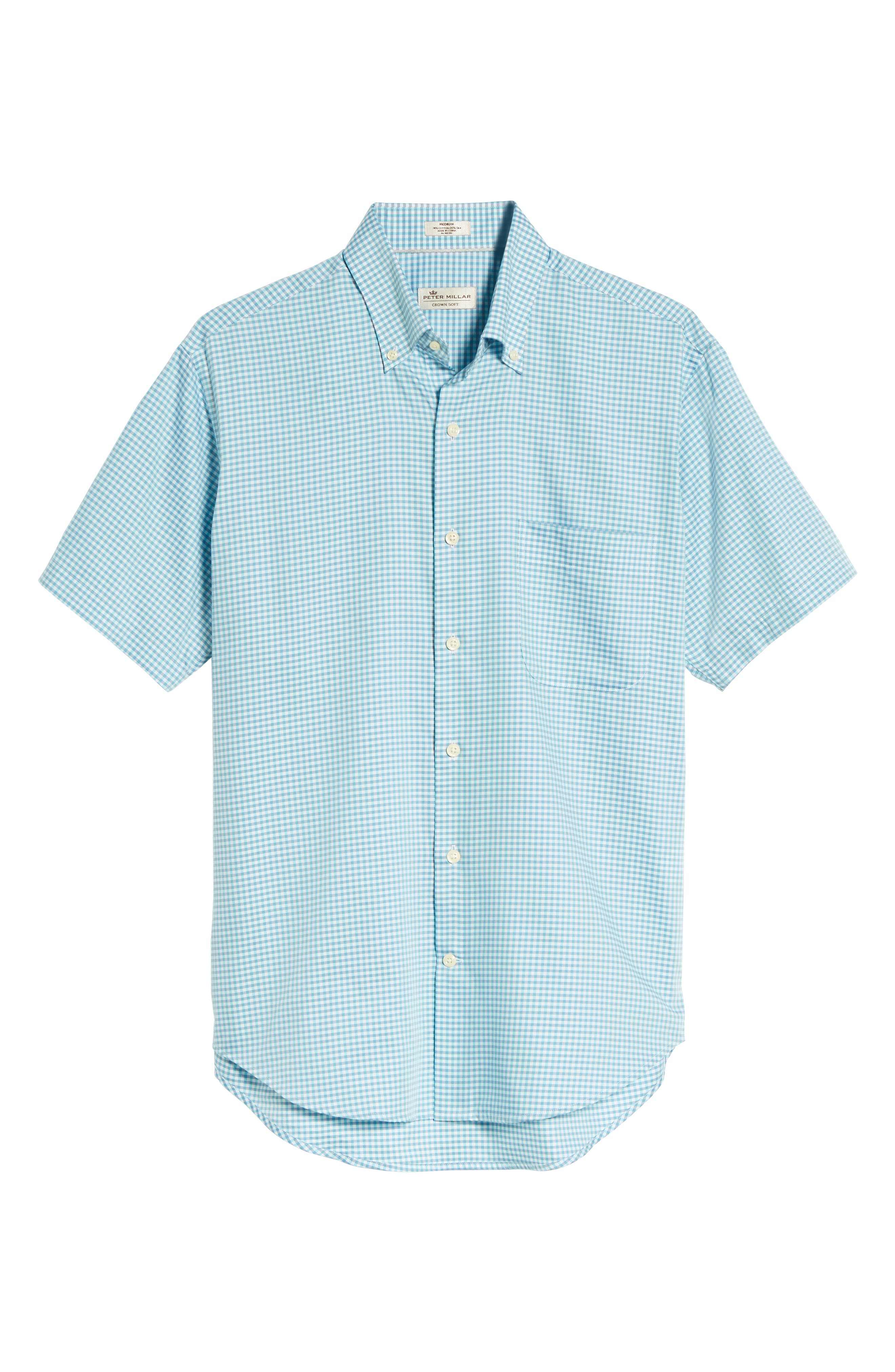 Crown Classic Fit Microcheck Sport Shirt,                             Alternate thumbnail 6, color,                             Tahoe Blue