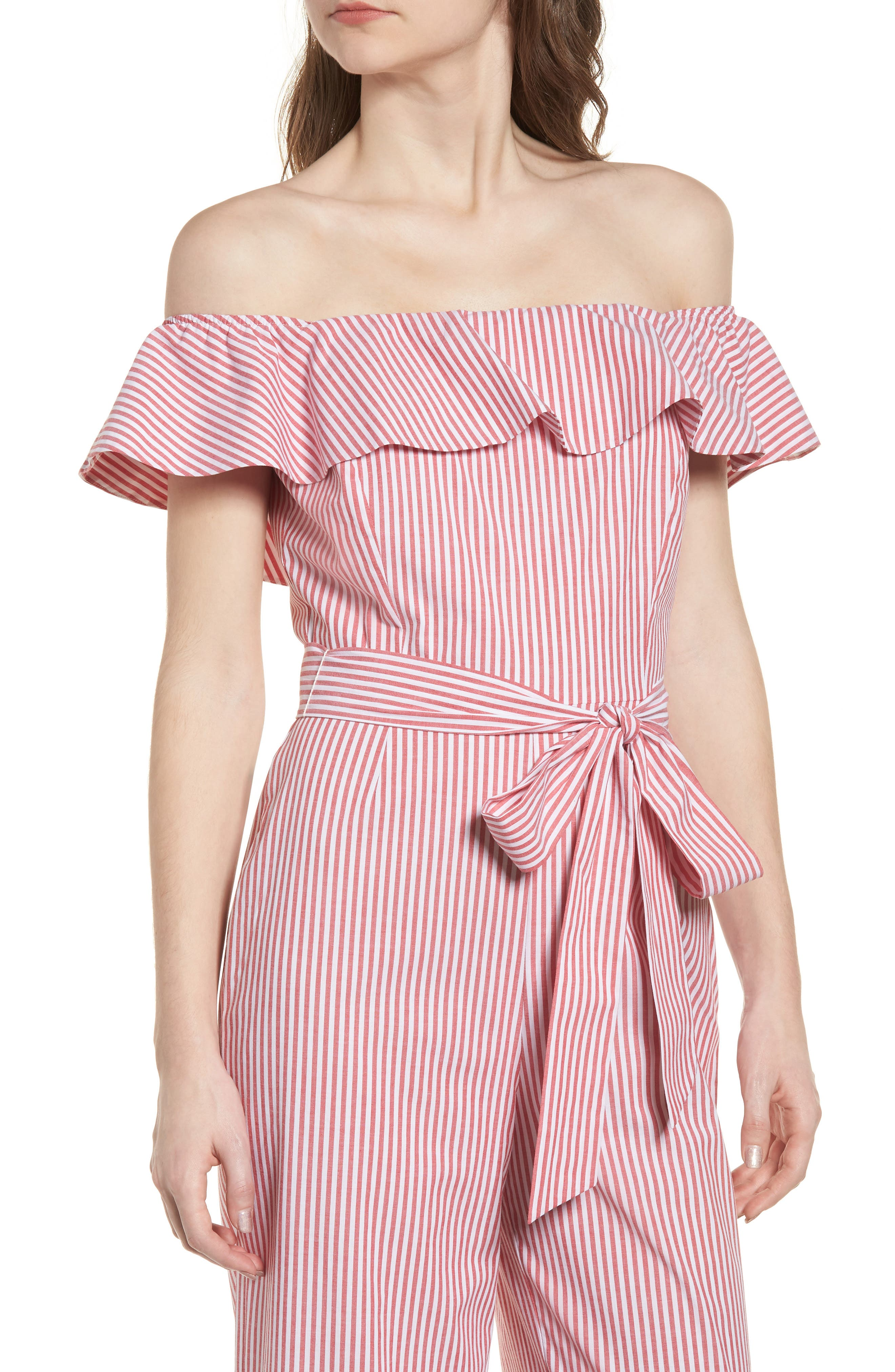 Grenoble Off The Shoulder Jumpsuit,                             Alternate thumbnail 4, color,                             Red Stripe